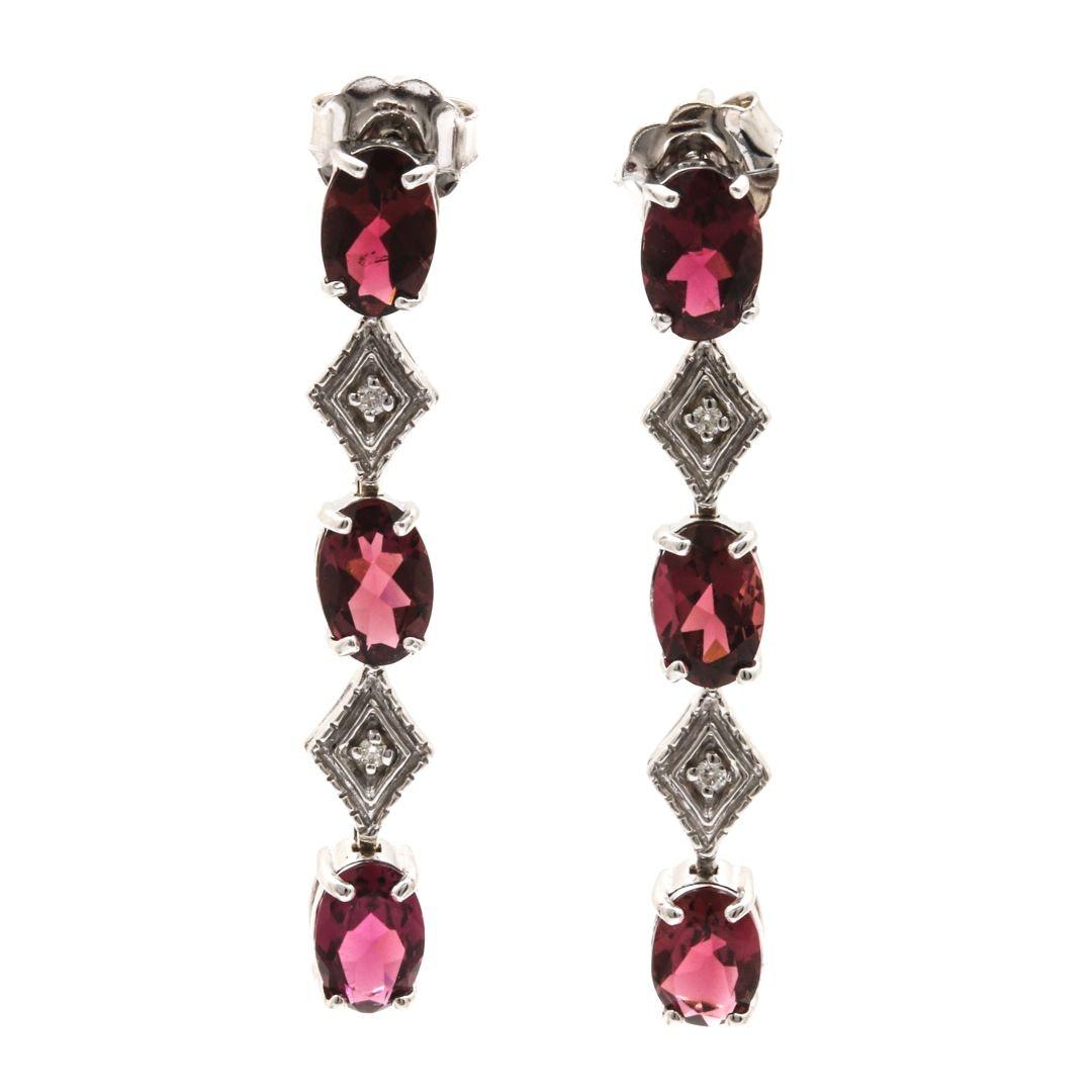 14K White Gold Pink Tourmaline and Diamond Dangle Earrings