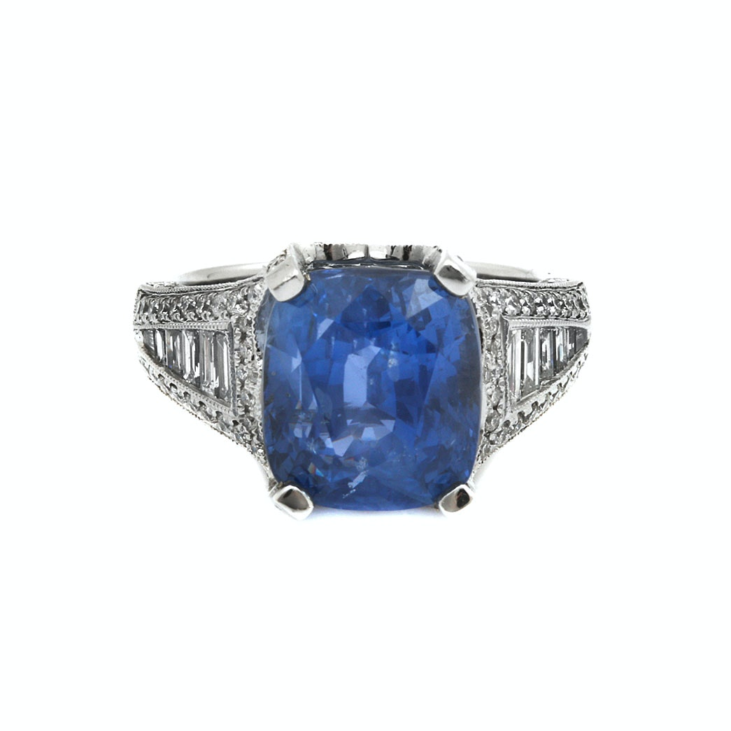 14K White Gold 10.36 CT Sapphire and 1.74 CTW Diamond Ring With GIA Report