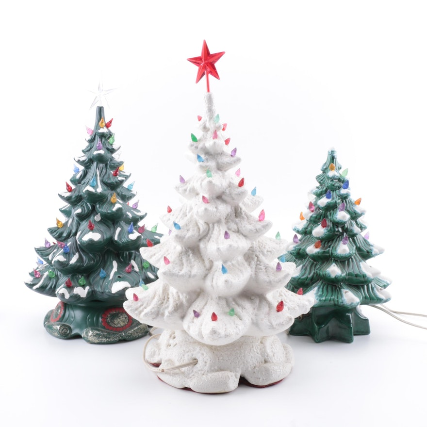 vintage atlantic mold ceramic illuminated christmas trees
