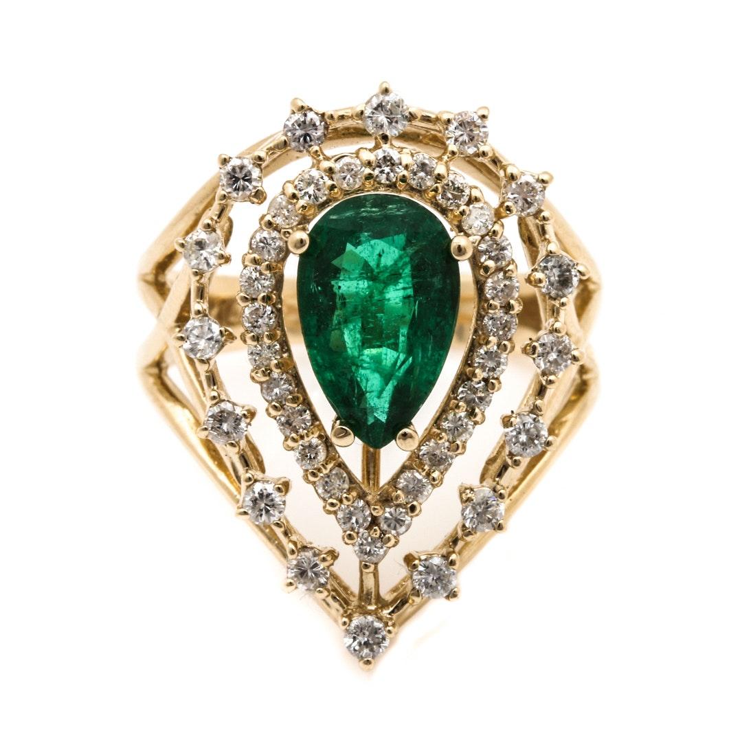 14K Yellow Gold 1.20 CT Emerald and Diamond Ring
