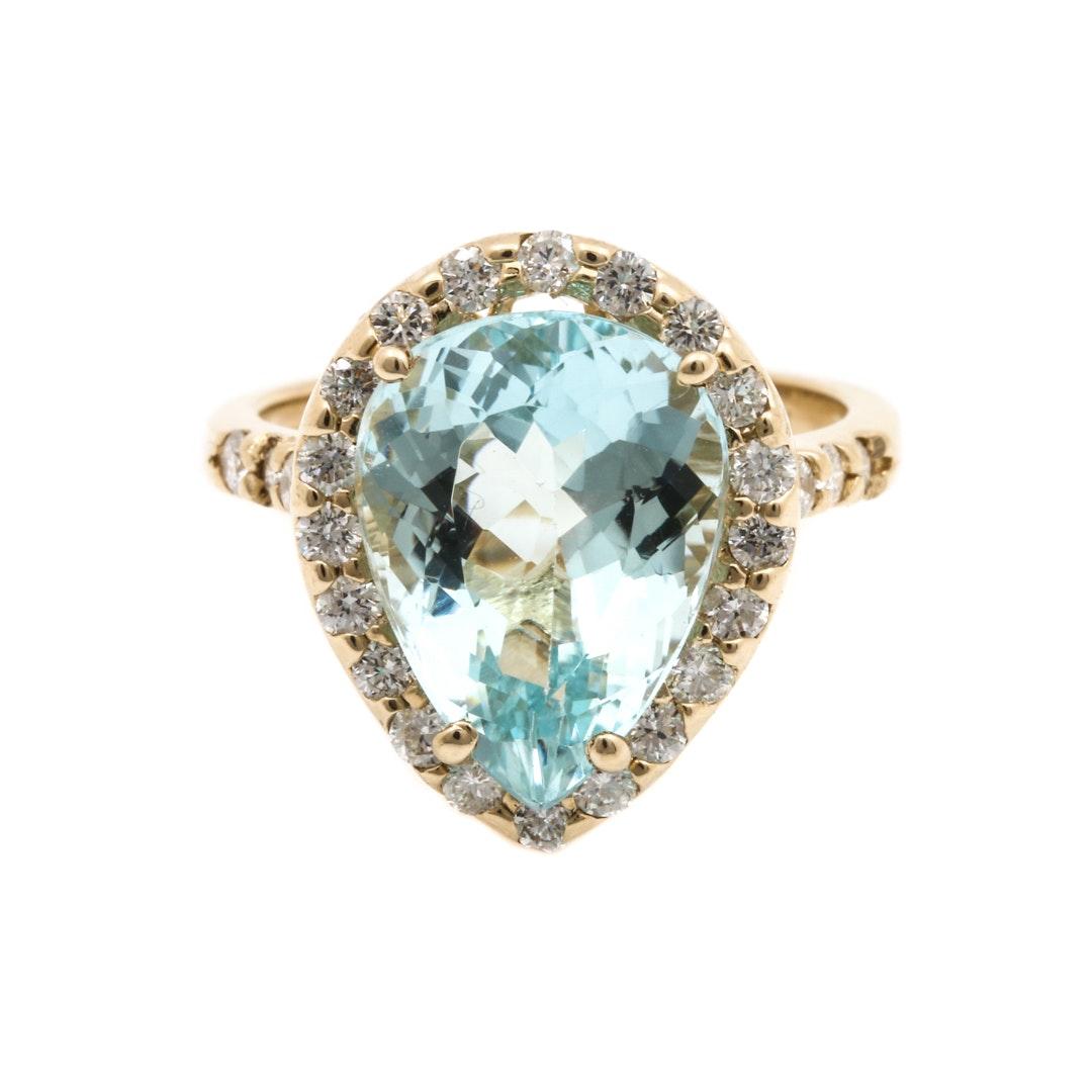 14K Yellow Gold 4.50 CT Aquamarine and Diamond Ring