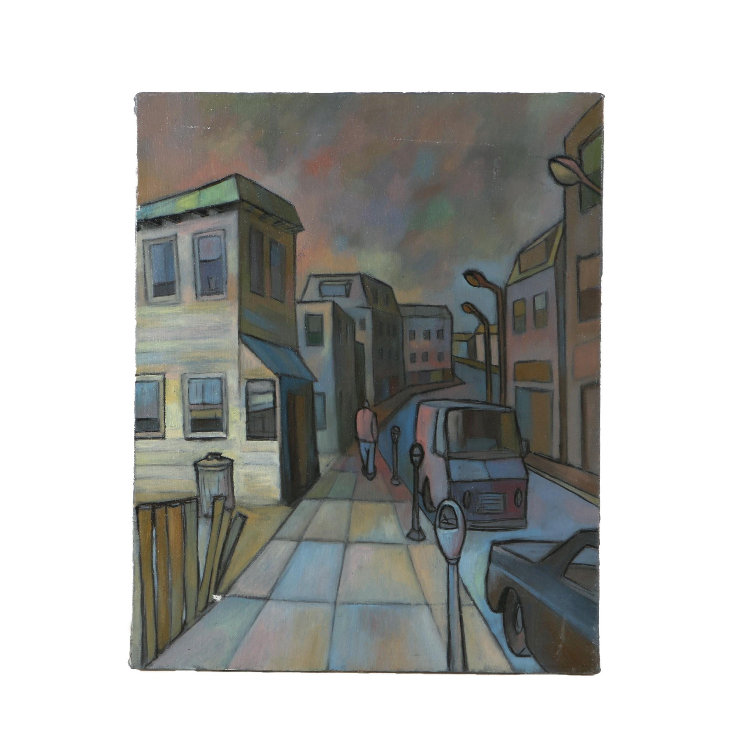 "Acrylic Painting on Canvas ""View of Bronxville"" Attributed to David Walker"