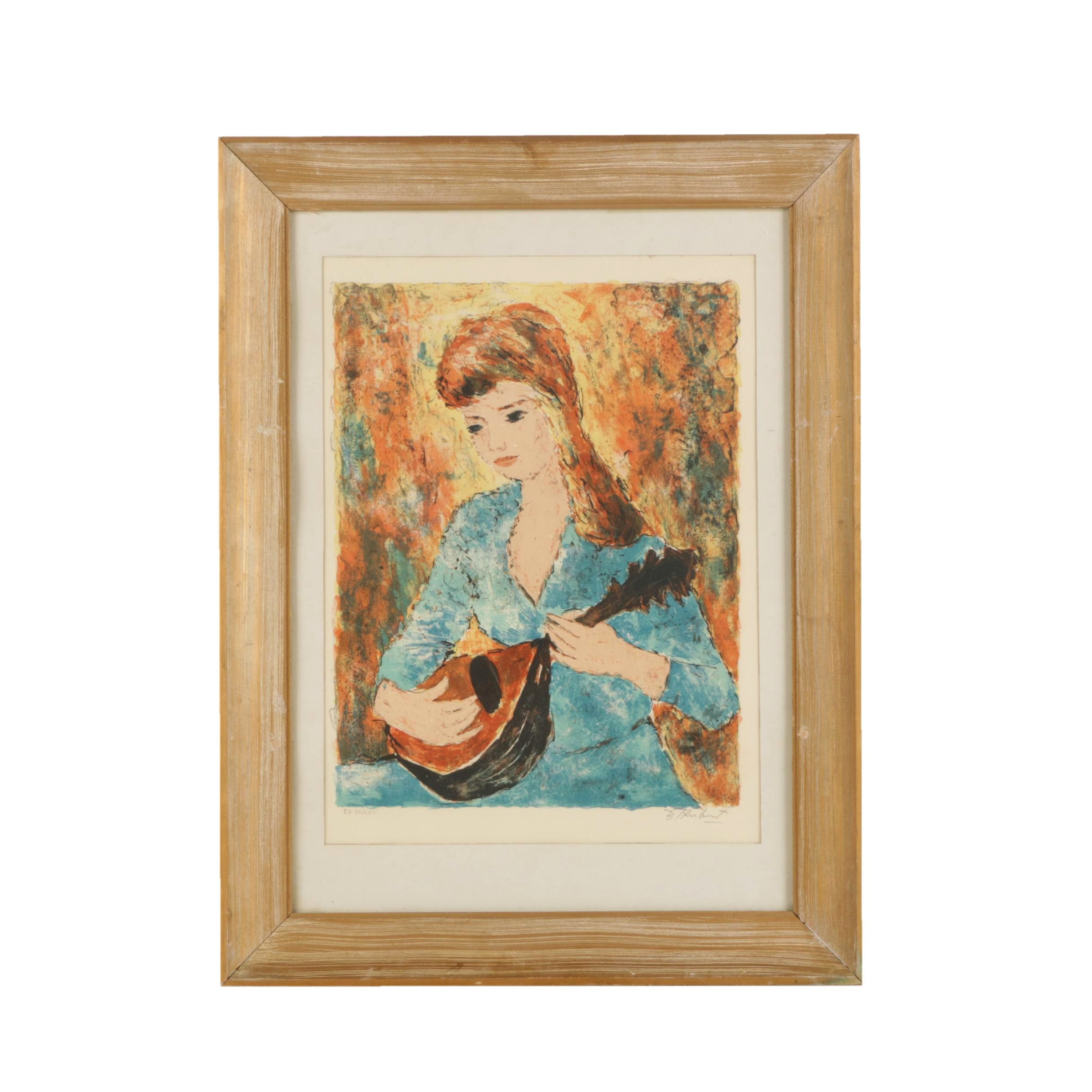Bertoldo Taubert Artist's Proof Color Lithograph of Girl Playing Lute