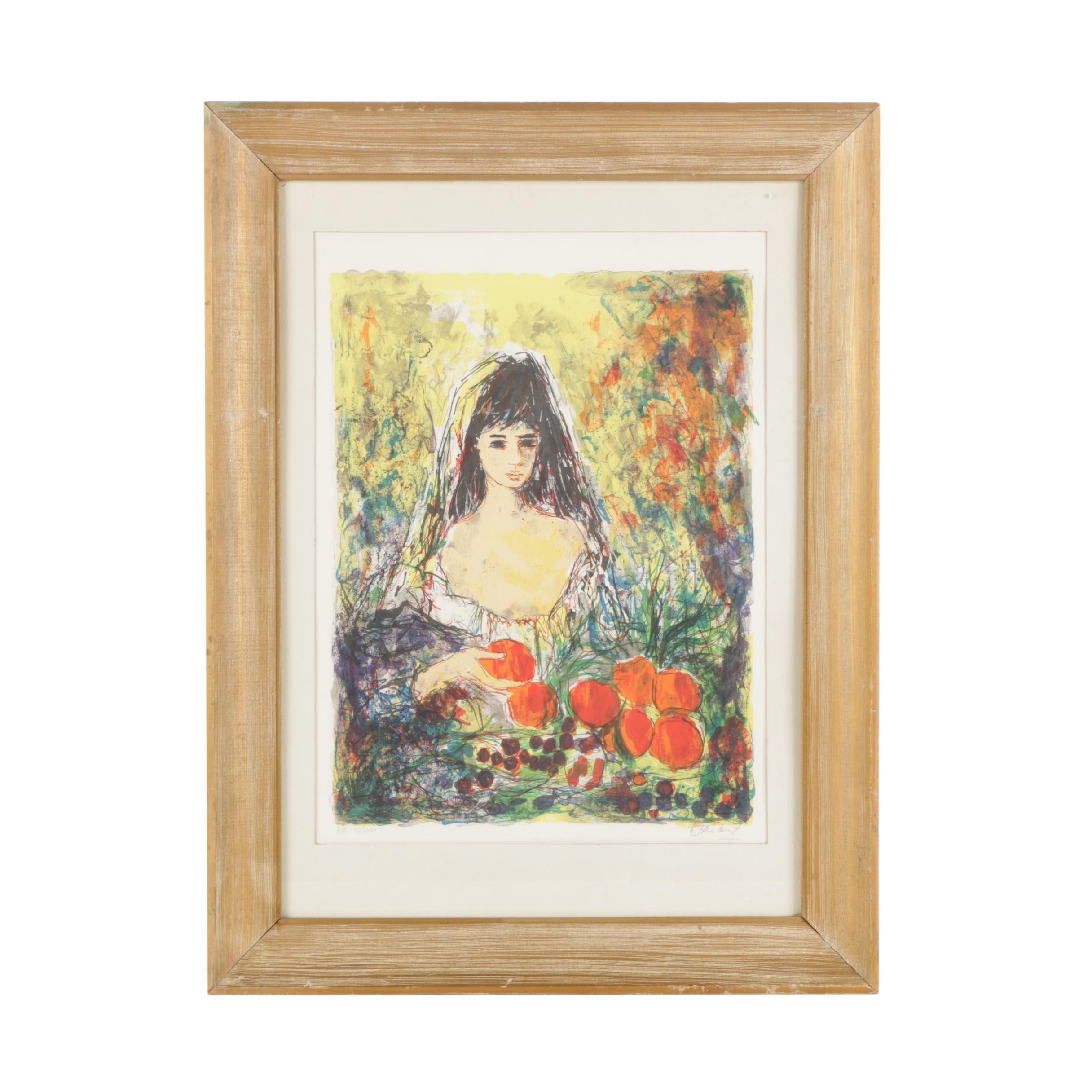 Signed Limited Edition Color Lithograph of Girl Holding Fruit
