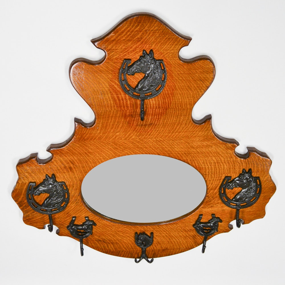 Vintage Carved Oak Horse Themed Beveled Wall Mirror with Hooks