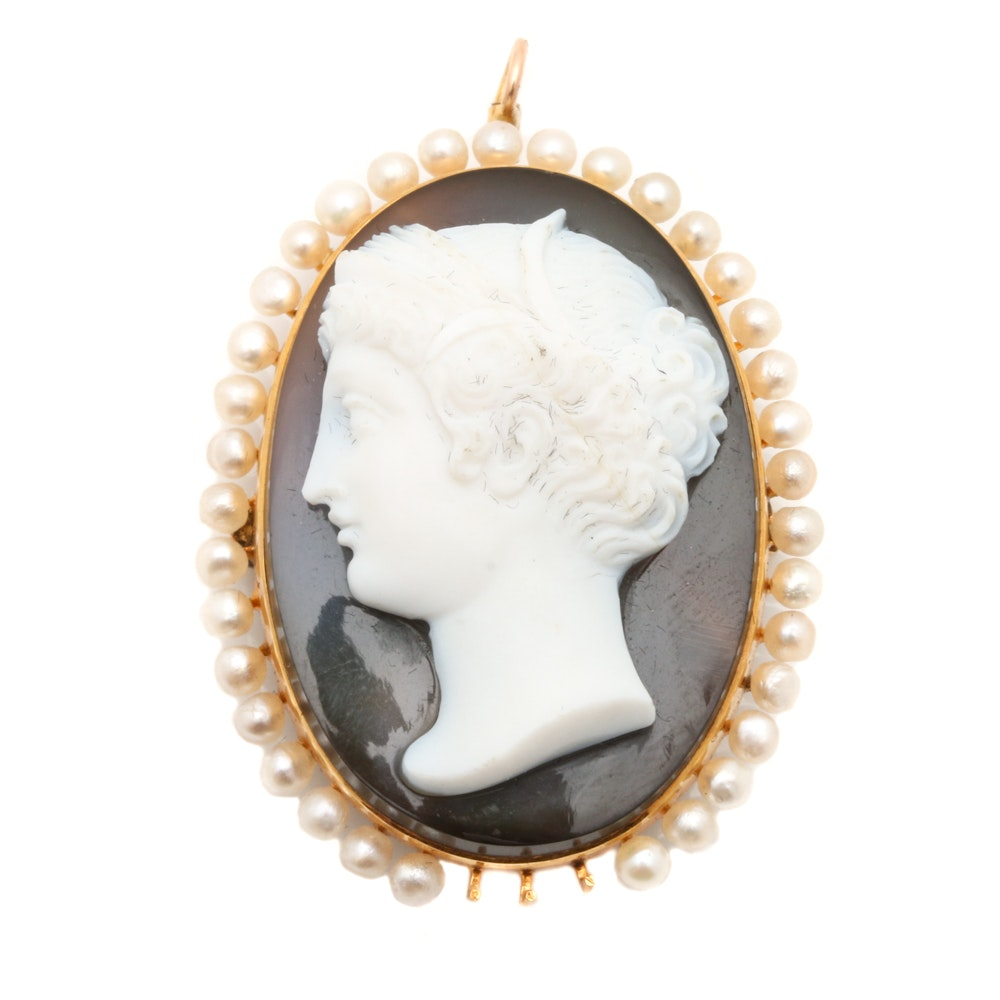 14K Yellow Gold Onyx and Seed Pearl Cameo Converter Brooch