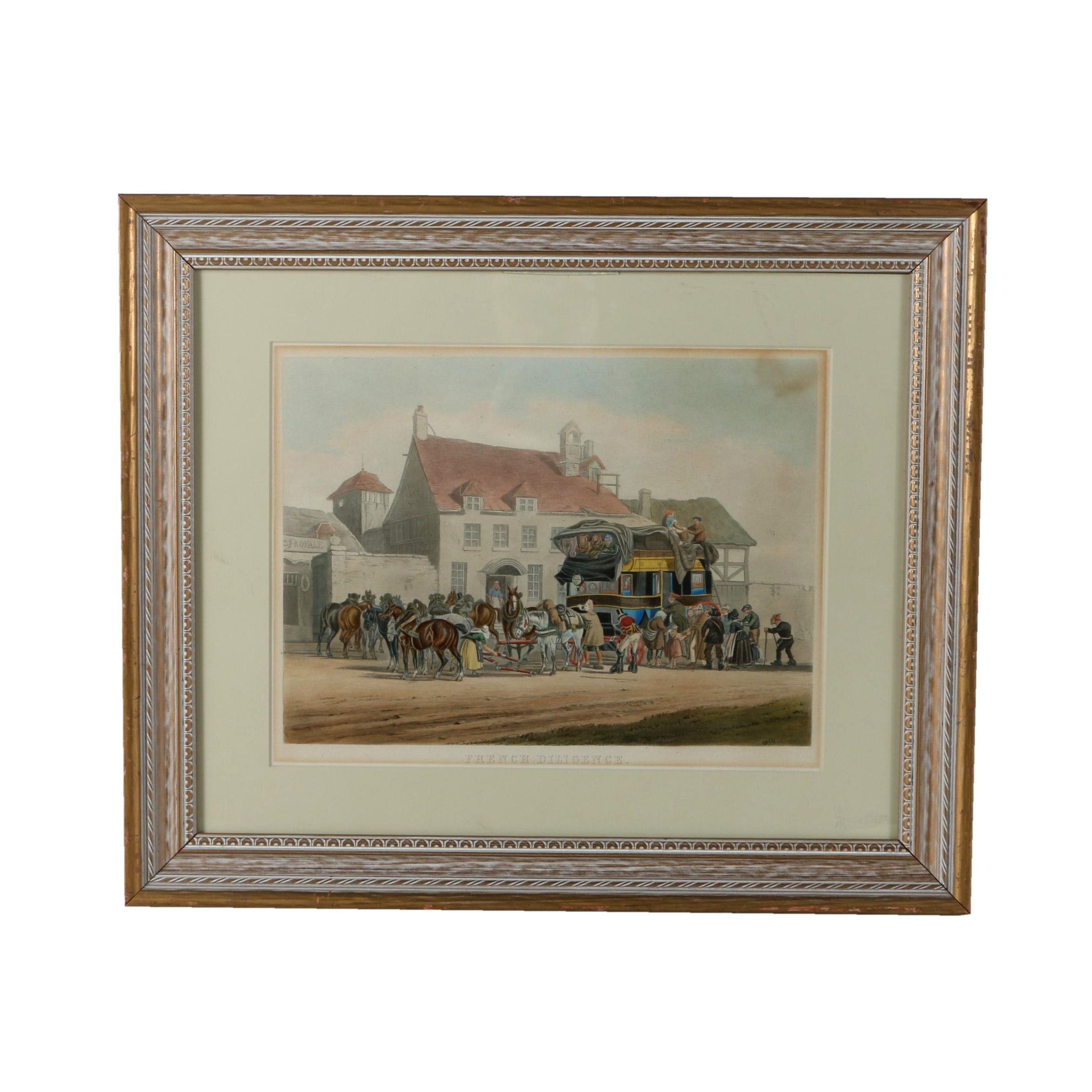 """Hand Colored Etching """"French Diligence"""""""