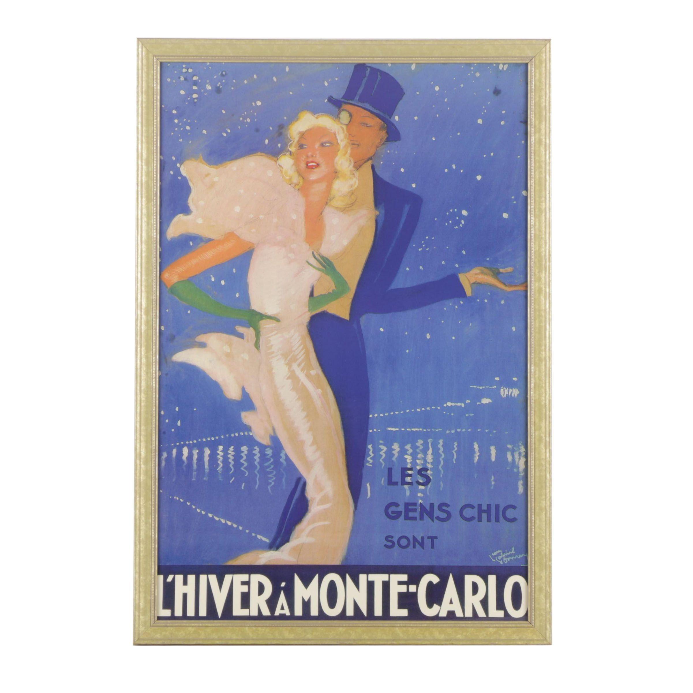 "Offset Lithograph Poster After Jean Gabriel Domergue ""L'Hiver A' Monte Carlo"""