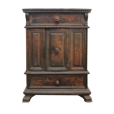 Antique Continental Walnut Cabinet - Vintage And Antique Cabinets Auction In Sterling Silver, Housewares