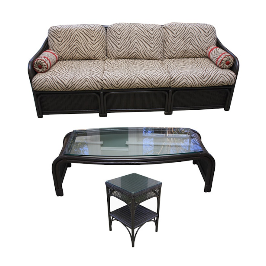 Henry Link Wicker Sofa Side Table And Coffee