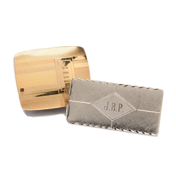 Sterling Silver Money Clip and 14K Gold Plated Sterling Silver Belt Buckle