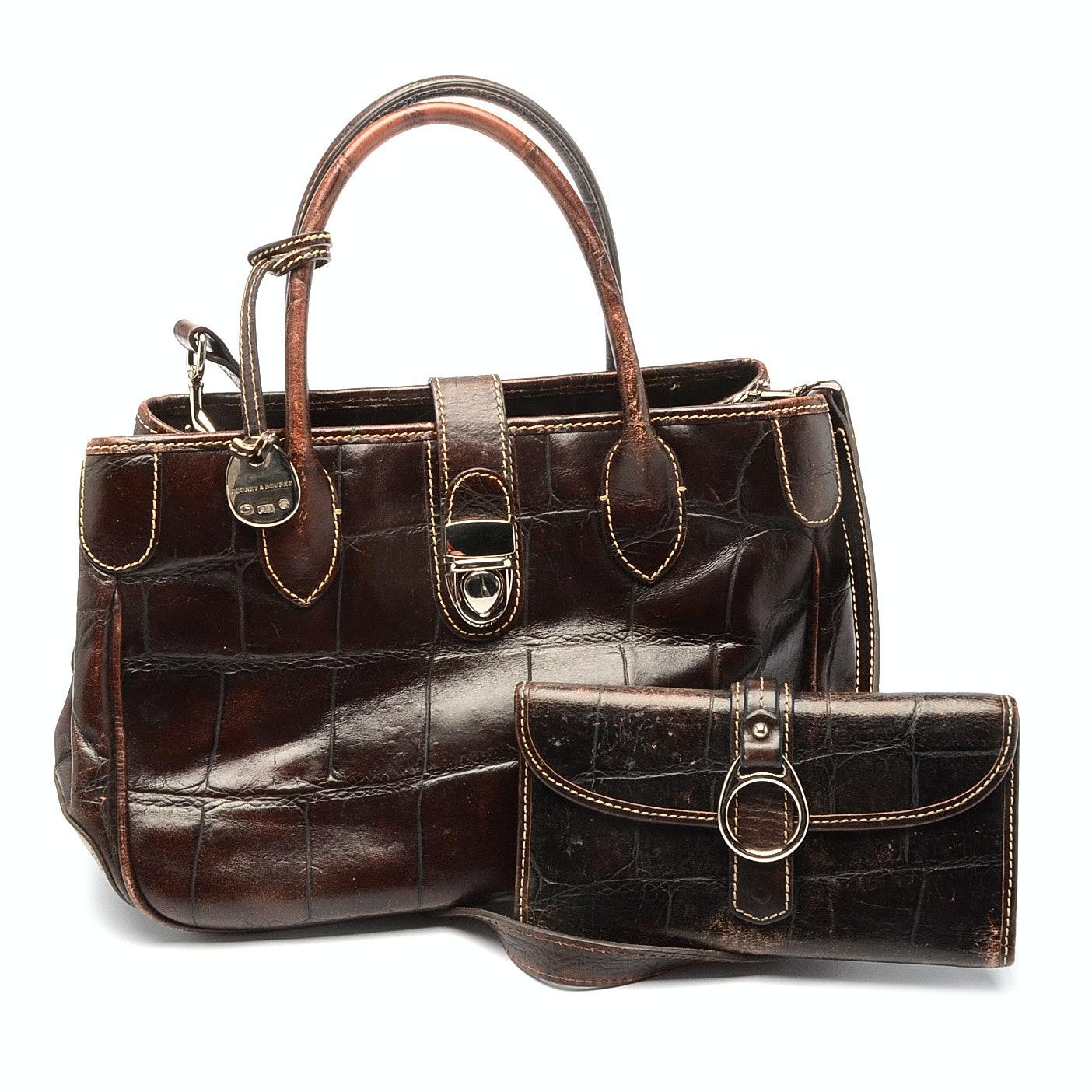 Dooney & Bourke Embossed Leather Handbag and Matching Wallet