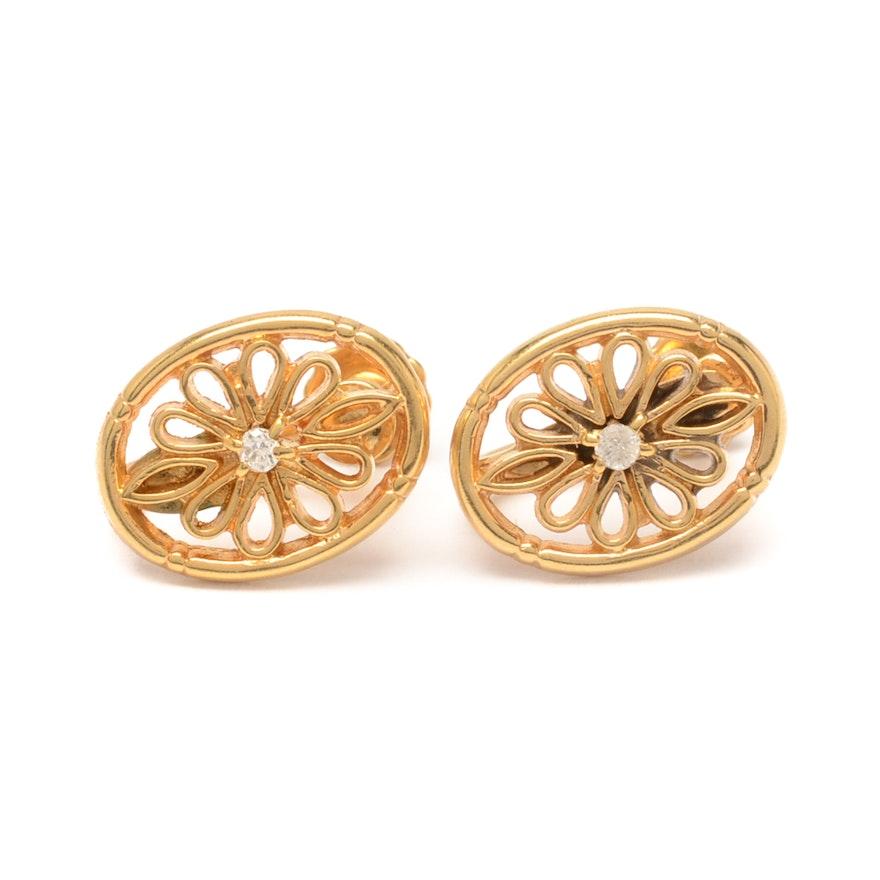 4ba7004e6 10K Gold and Diamond Screw Back Earrings : EBTH
