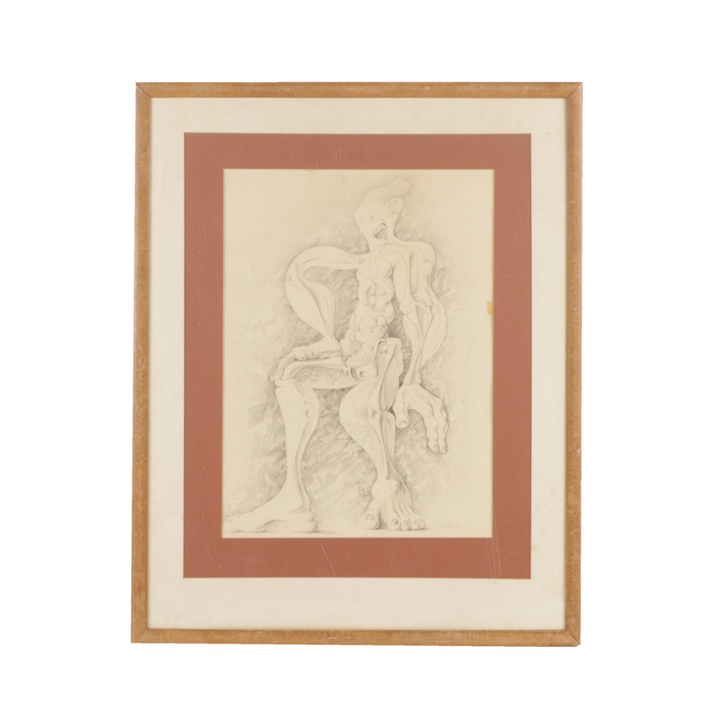 David Walker Graphite Drawing on Paper