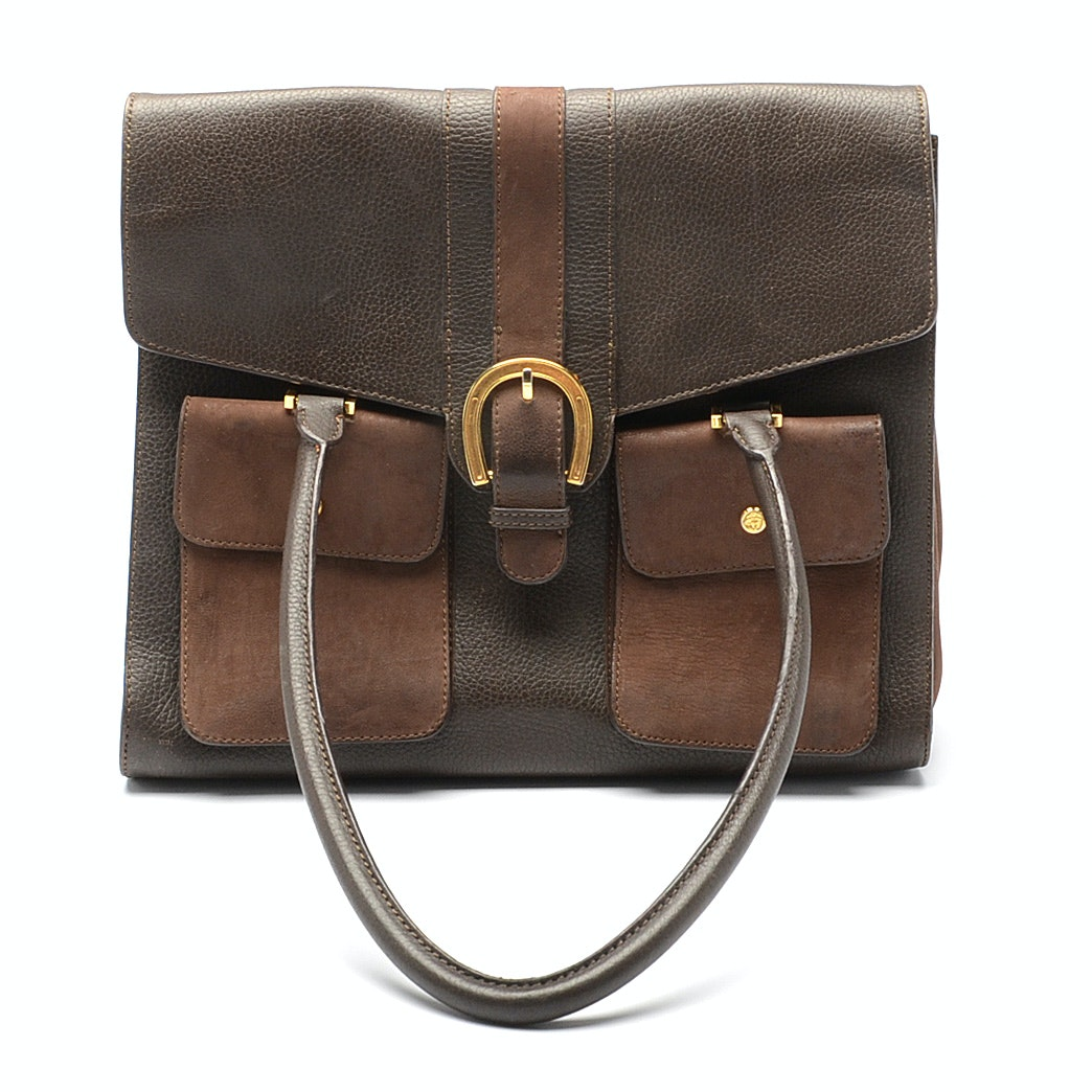 Brooks Brothers Brown Leather Tote Bag