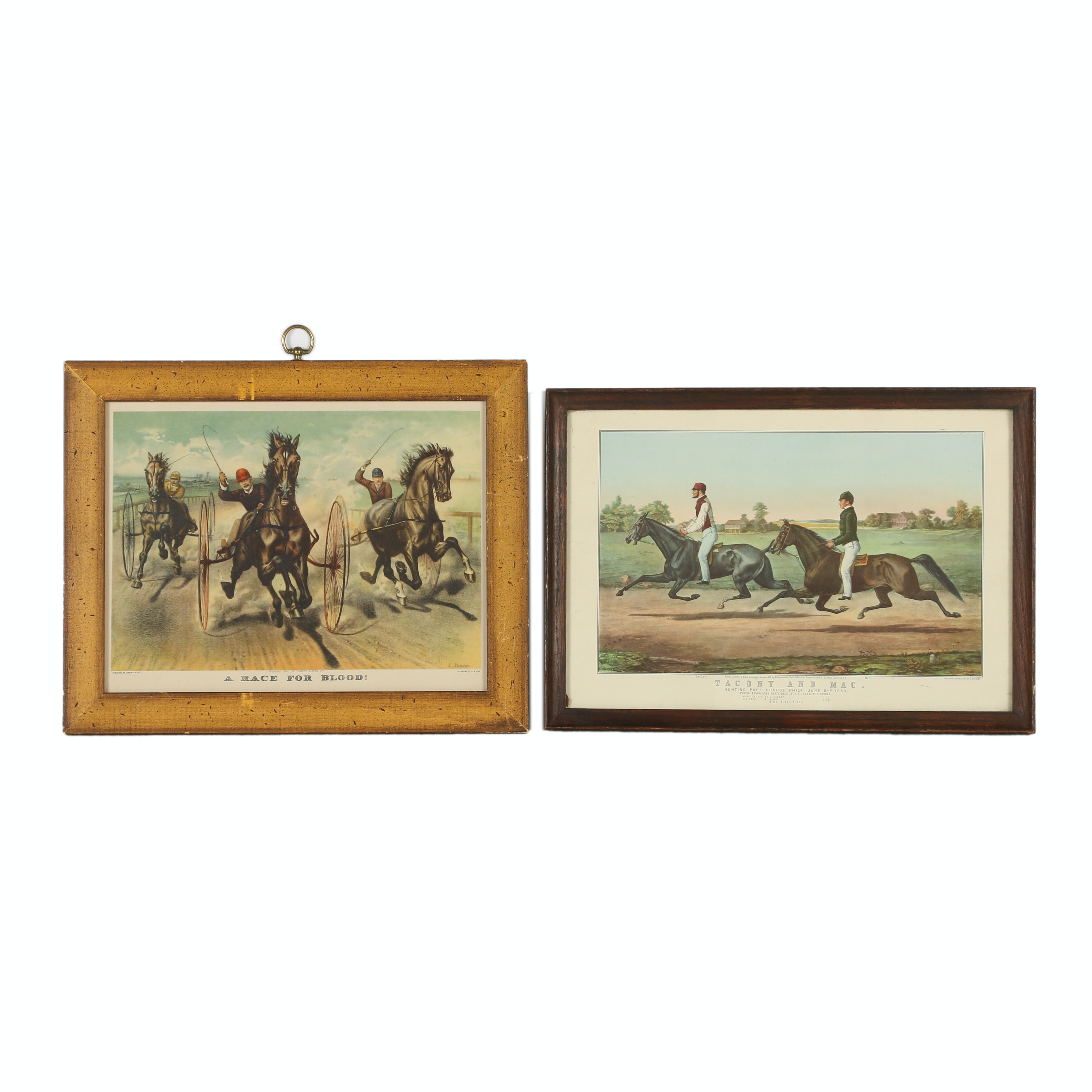 Pair of Reproduction Offset Lithographs on Paper of Horse Racing Scenes
