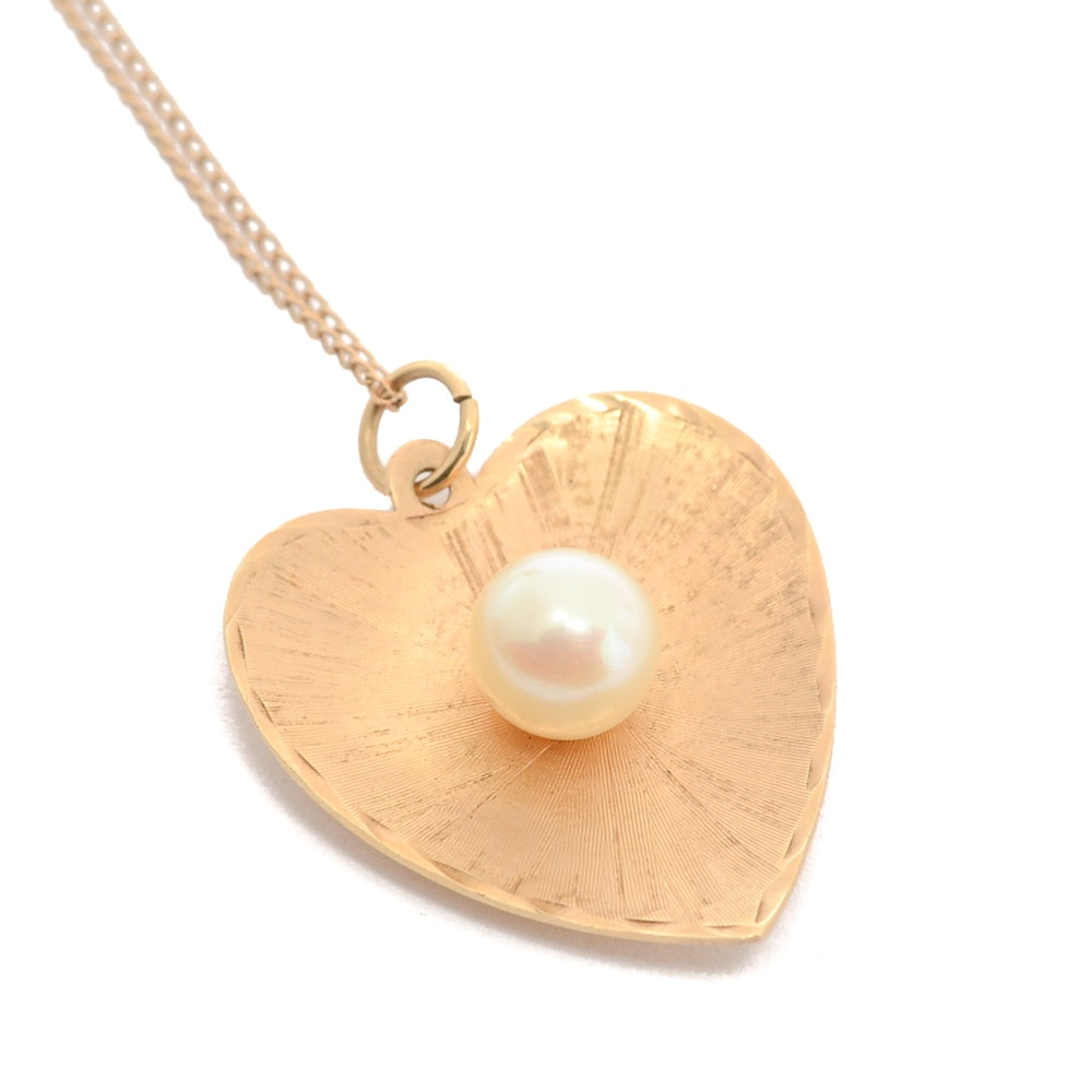 14K Gold Heart Necklace with Cultured Pearl