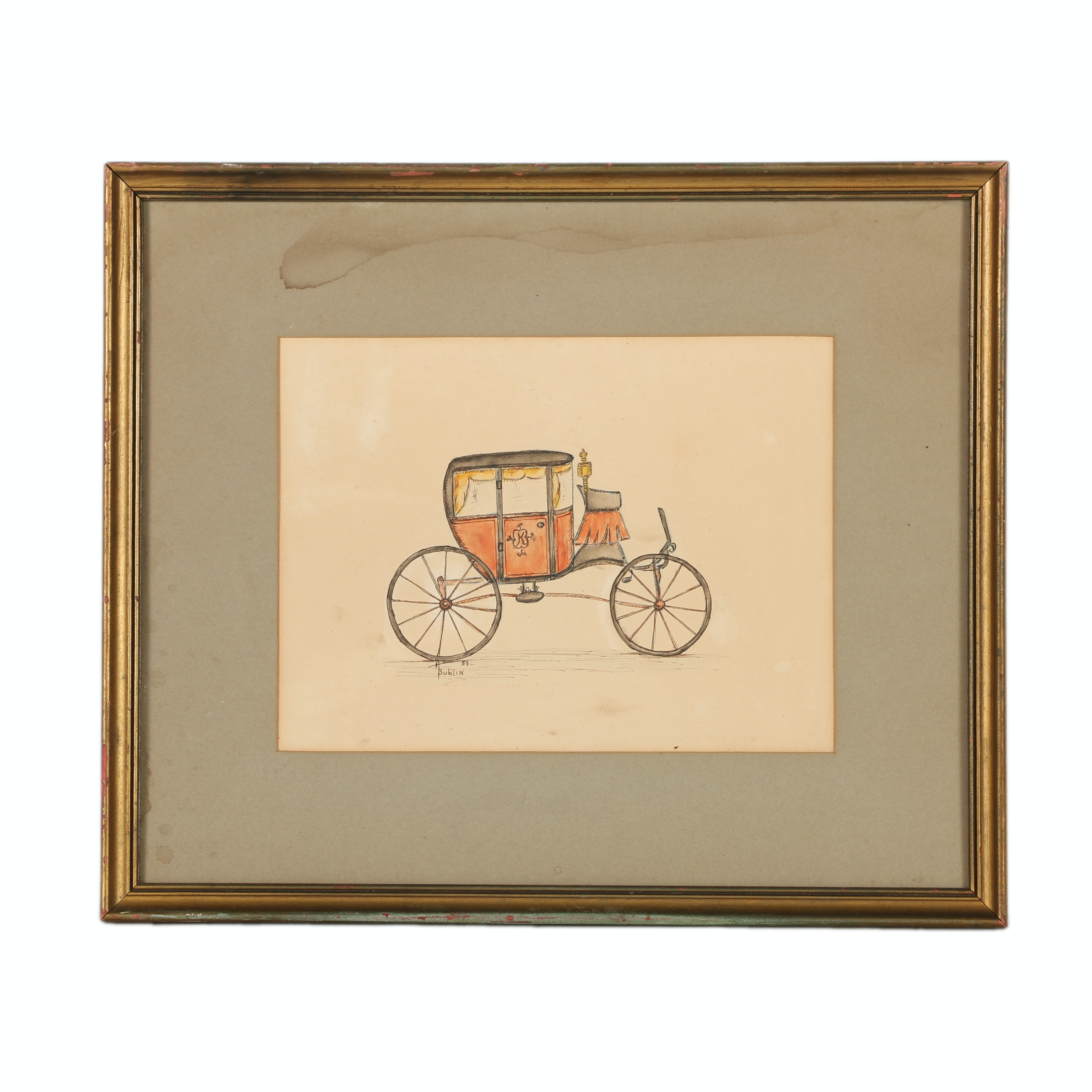 H. Bublin Watercolor Painting on Paper of Carriage