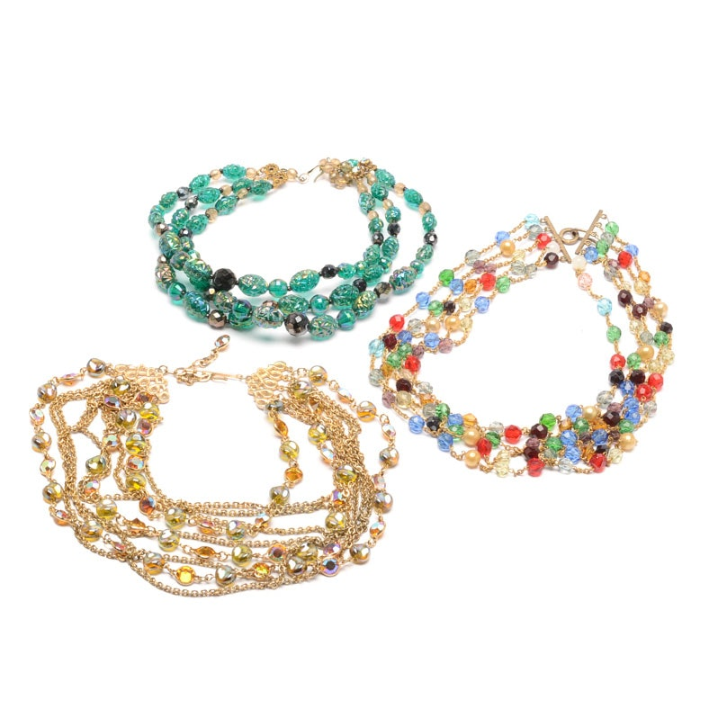 Vintage Multi-Strand Art Glass Bead Necklaces