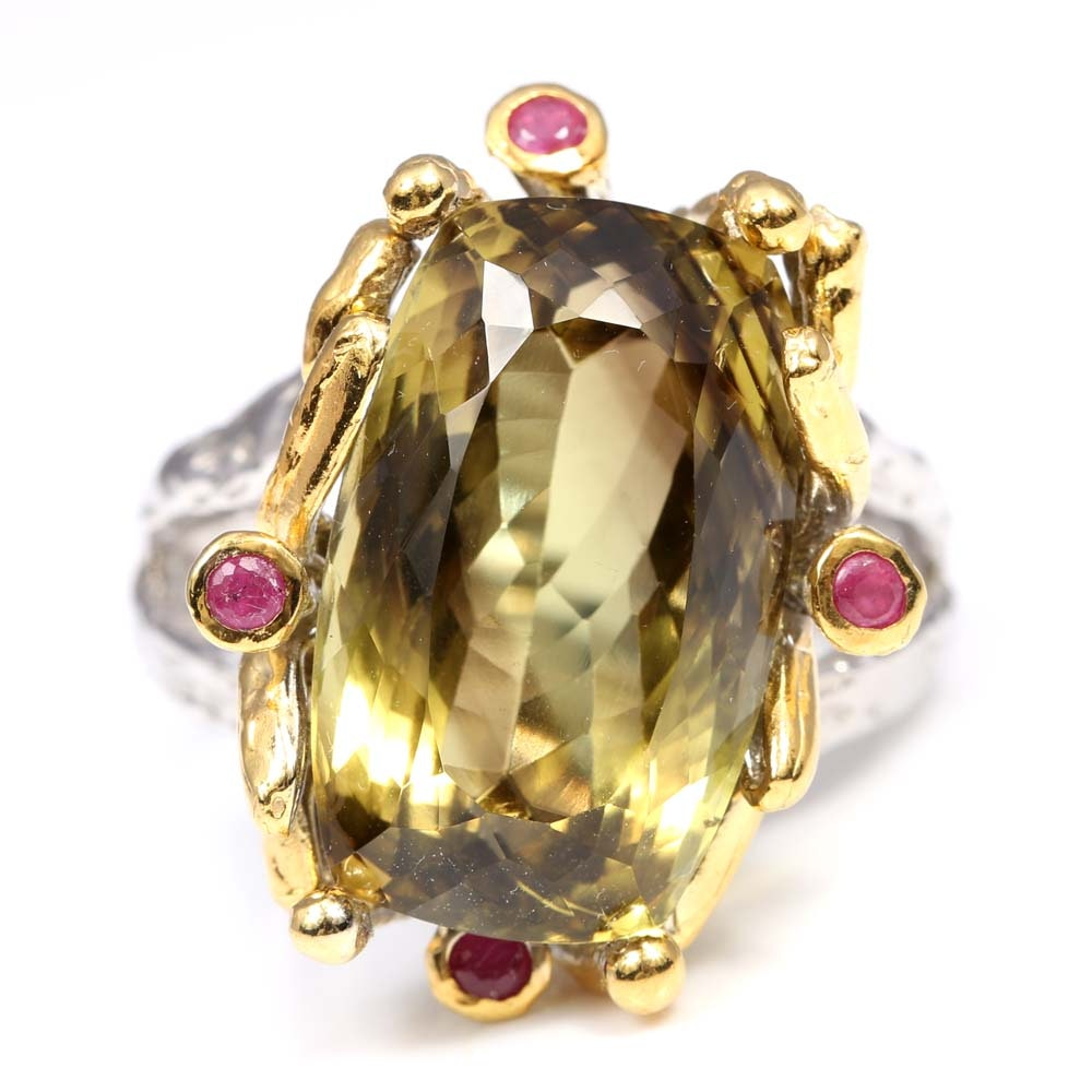 Sterling Silver 20.86 CT Green Quartz and Ruby Ring