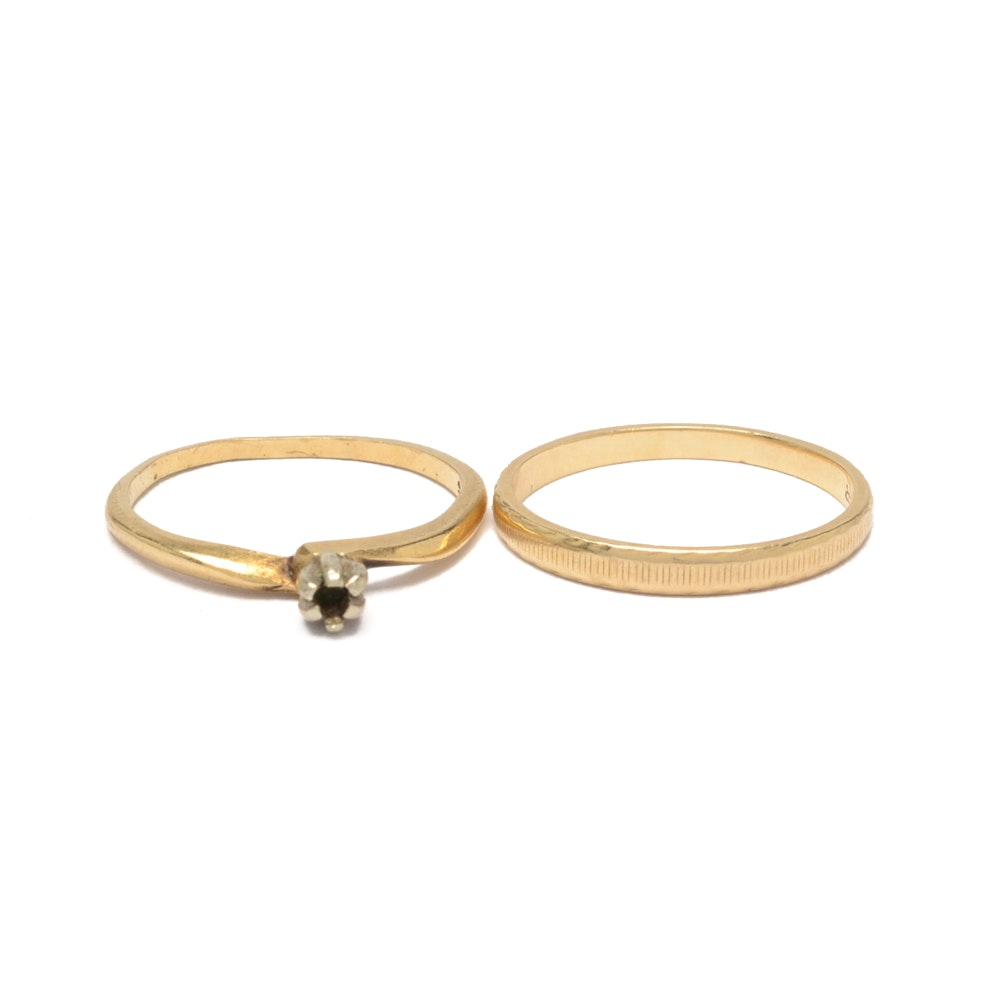 14K Gold Ring Mounting and Textured Band