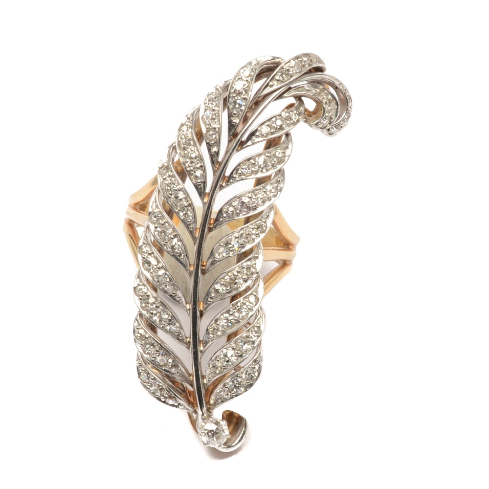 14K Gold, Platinum and Diamond Feather Ring