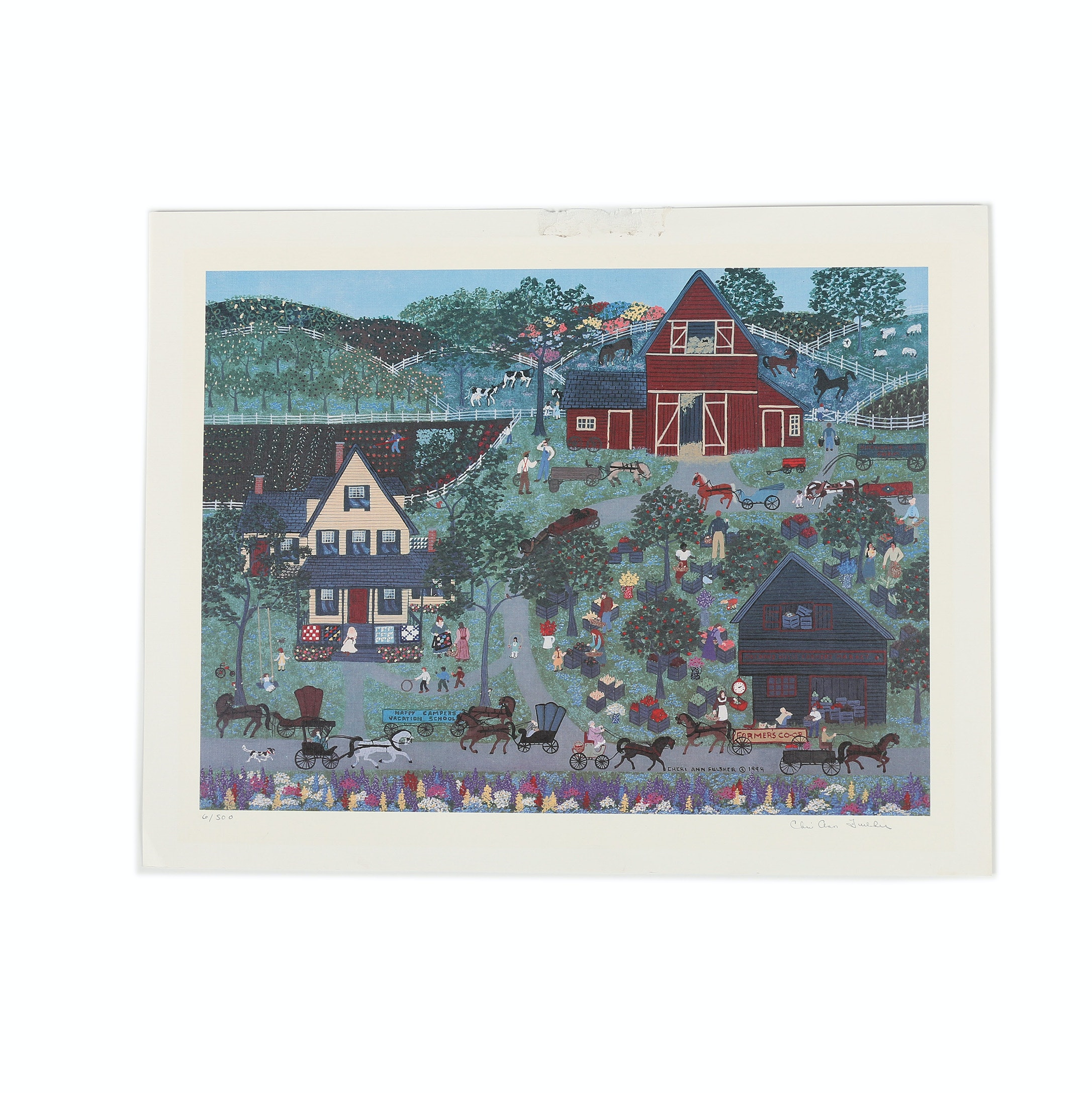 Cheri Ann Fulsher Limited Edition Offset Lithograph of a Country Town