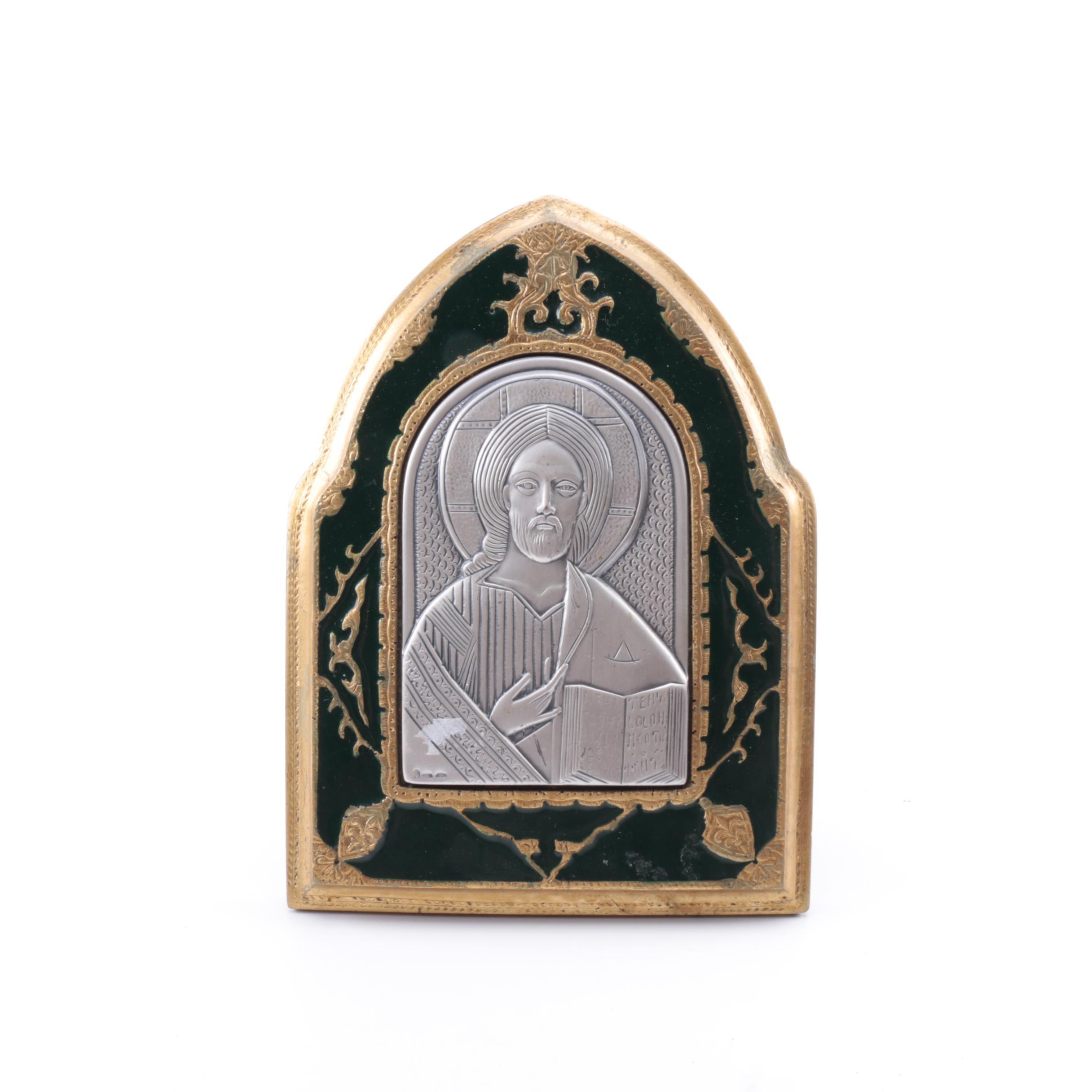 Guerrini Framed Silver Jesus Portrait Plaque