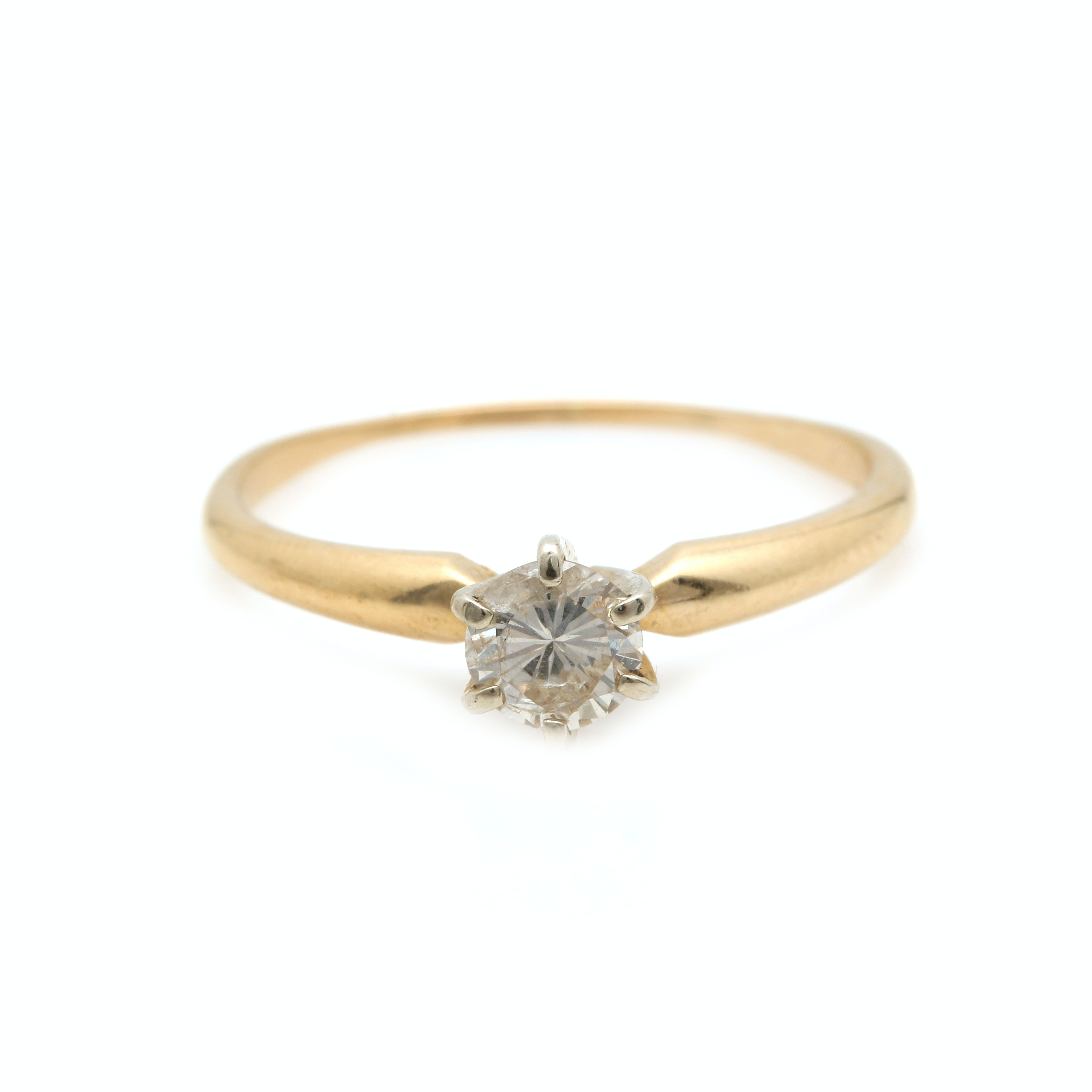 14K Two-Tone Gold Diamond Solitaire Ring