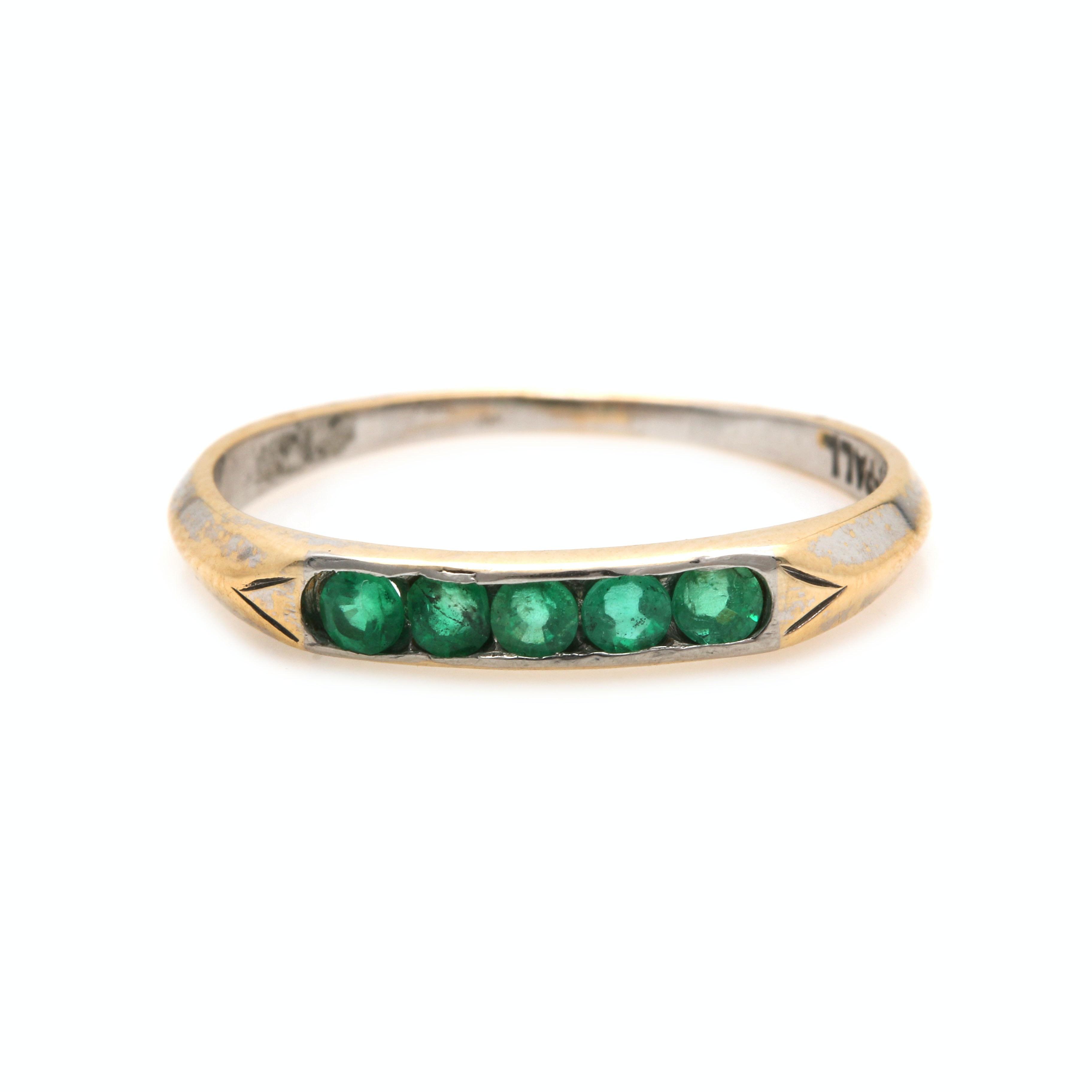 14K Yellow Gold and Palladium Emerald Ring