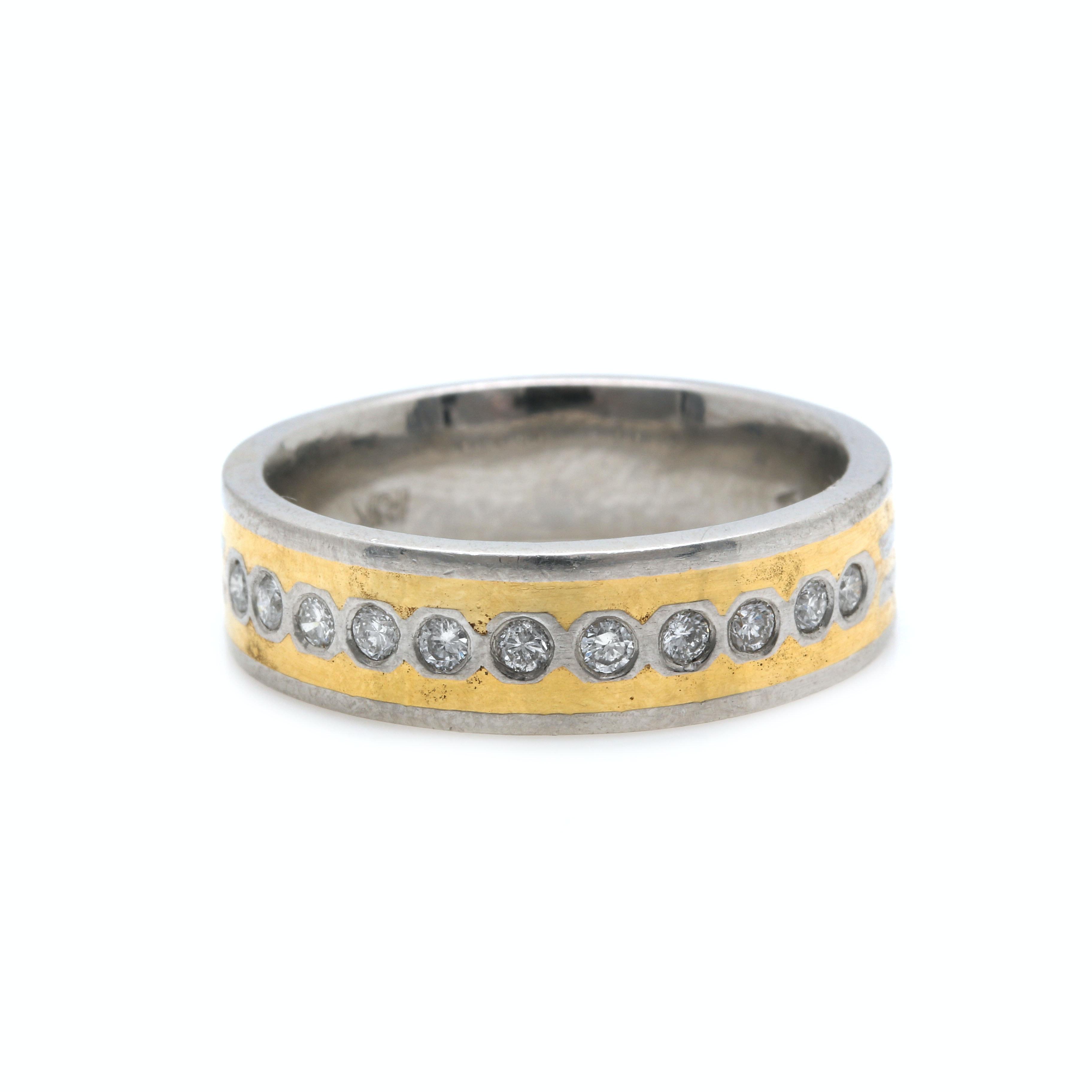 Platinum and 18K Gold Diamond Ring