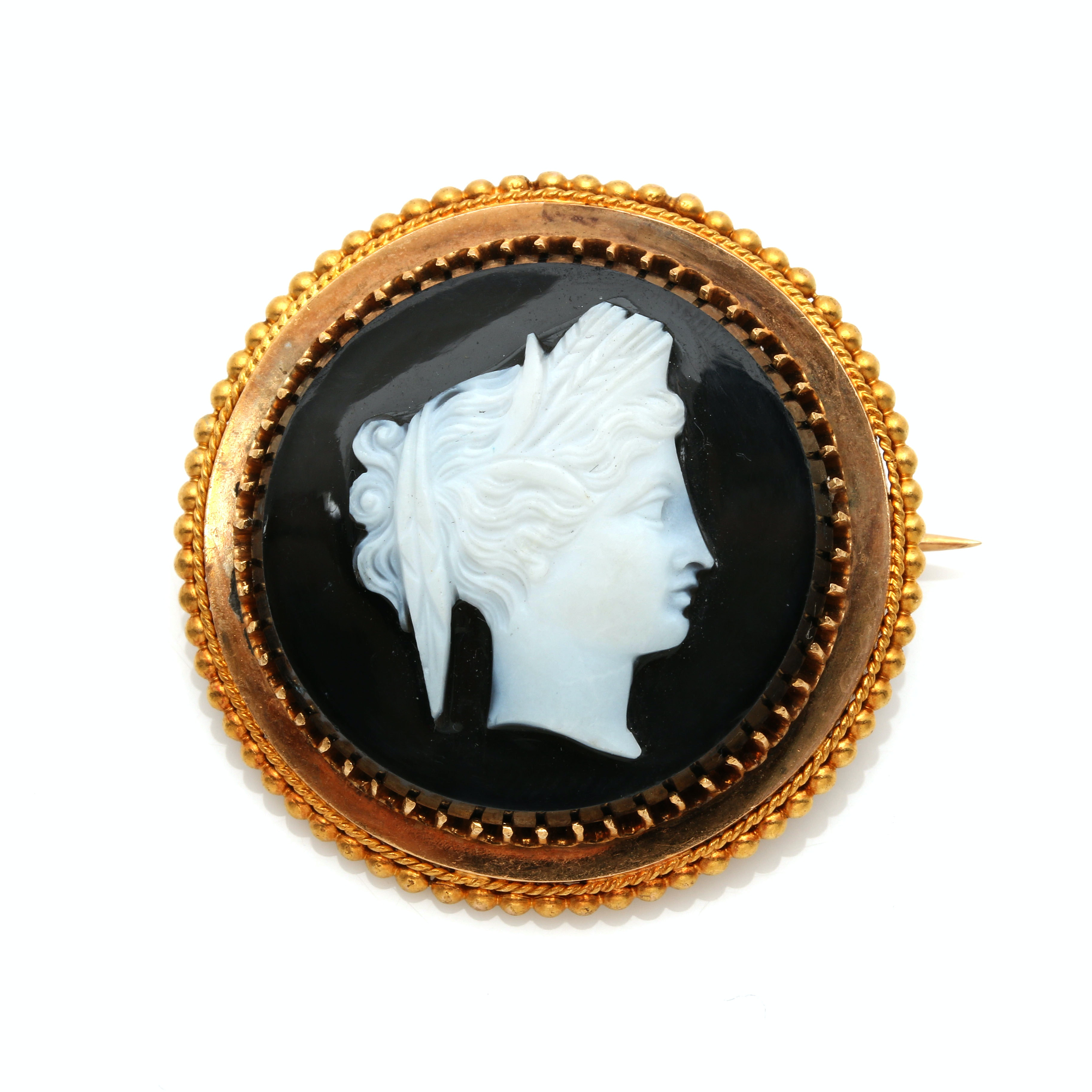 18K and 14K Yellow Gold Onyx Cameo Brooch