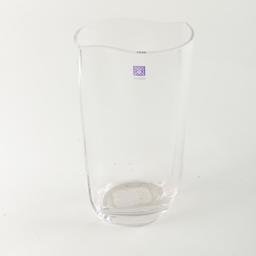 Clear Creased Oval Glass Vase Ebth