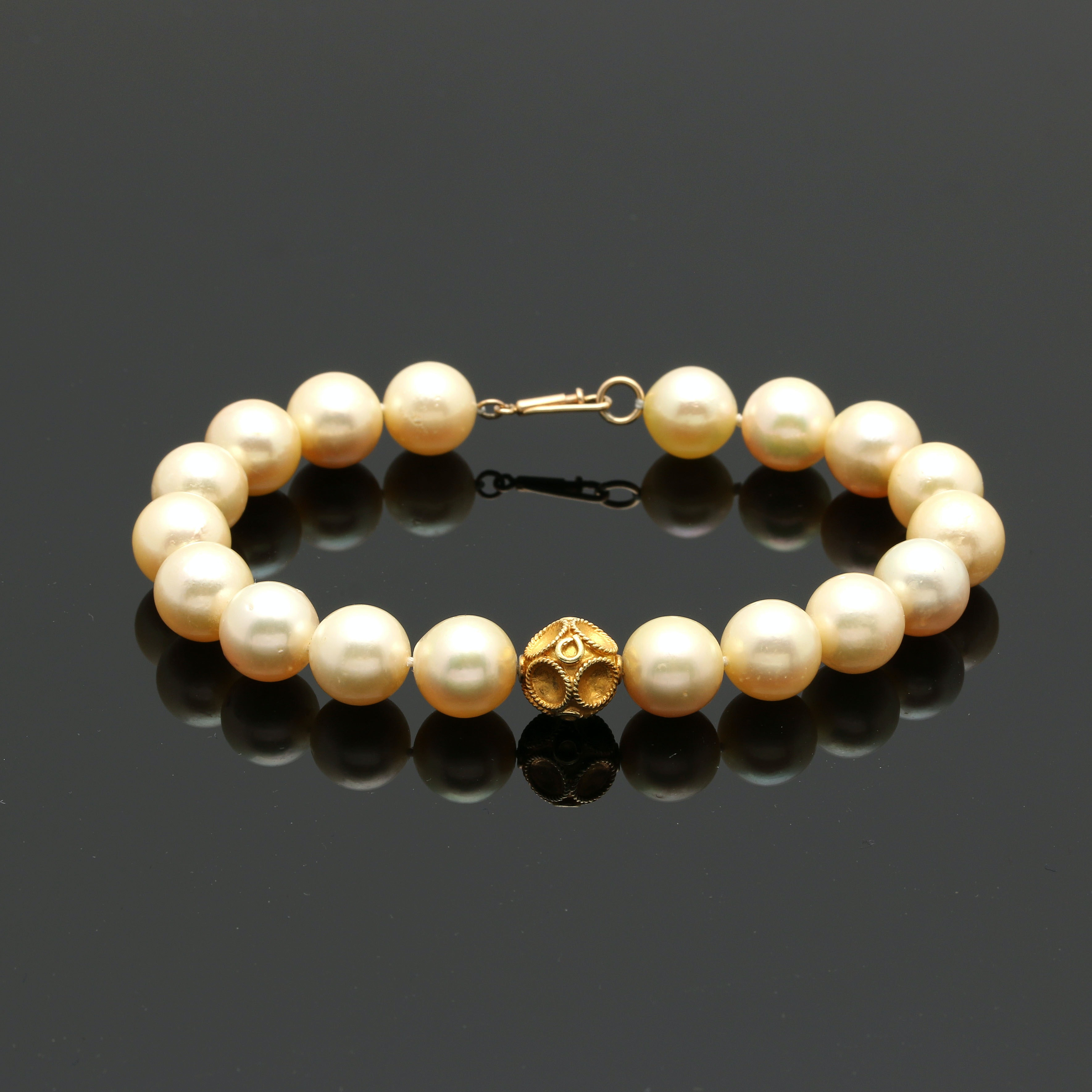 14K and 18K Yellow Gold Cultured Pearl Bracelet