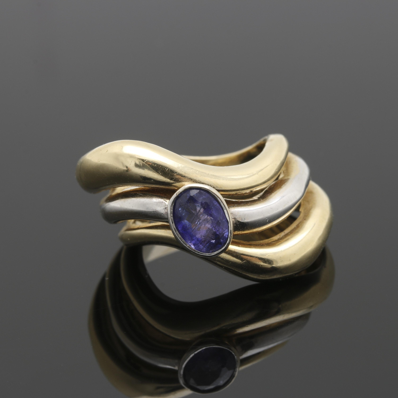 14K White and Yellow Gold Tanzanite Ring