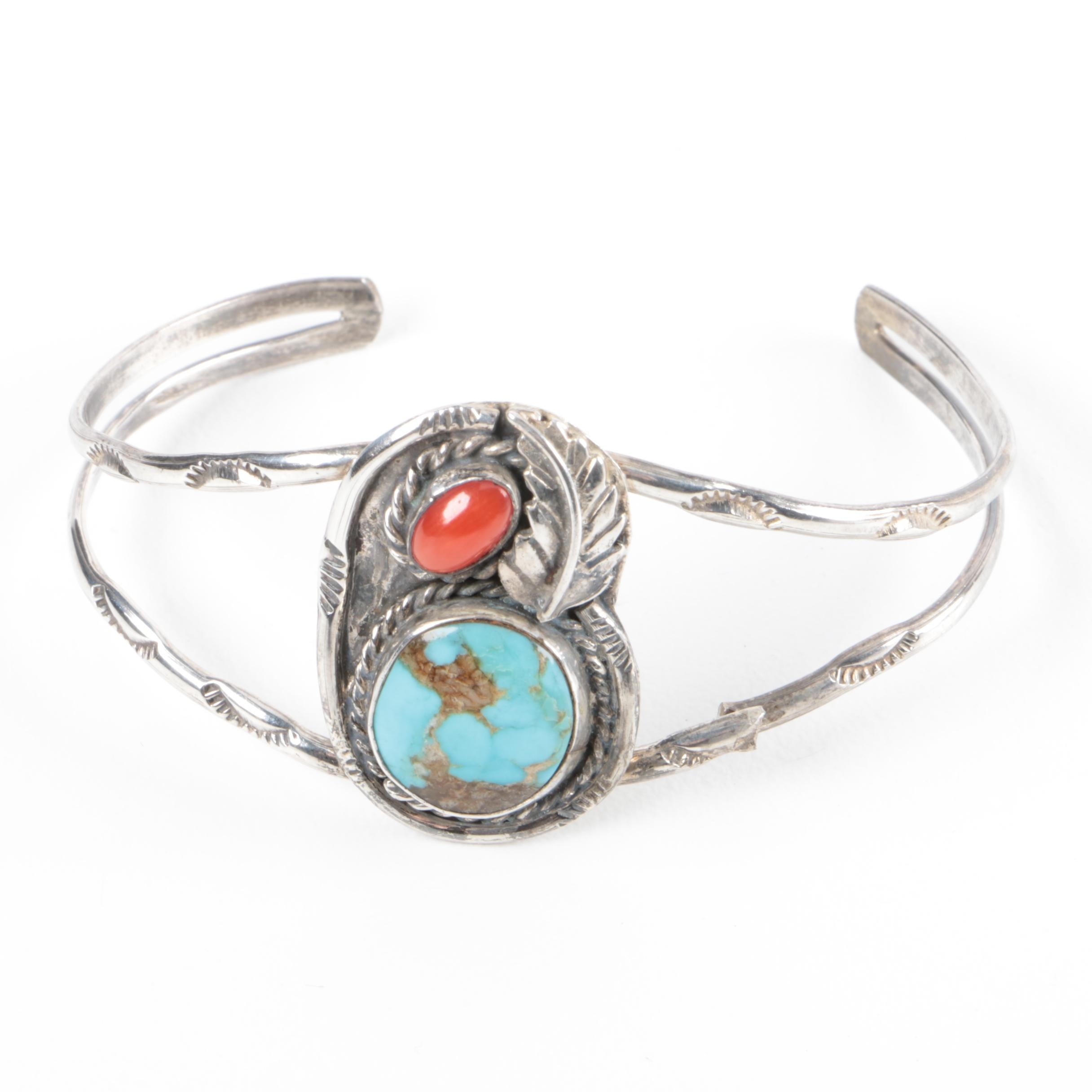 Native American Style Sterling Silver, Turquoise and Coral Cuff Bracelet