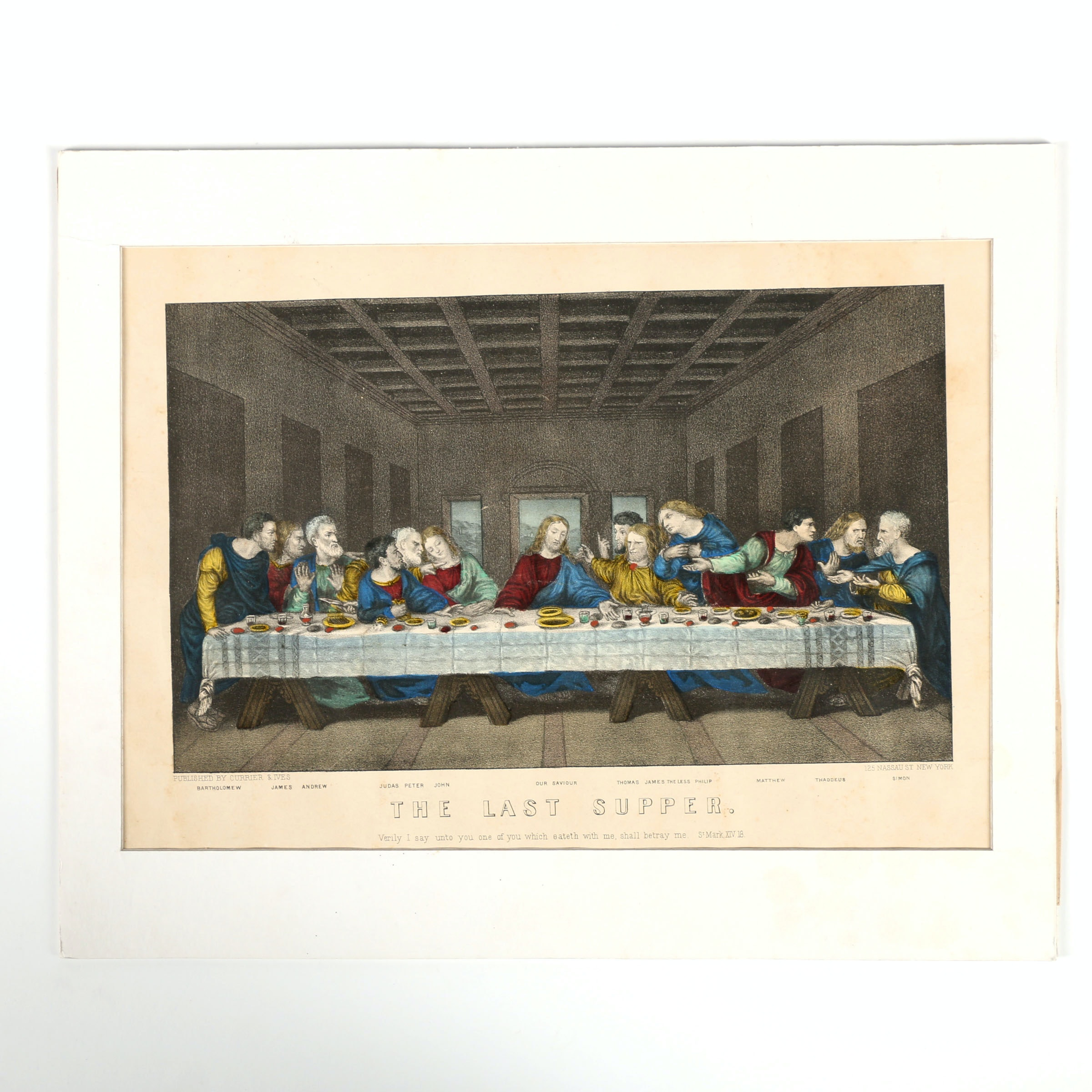 """Reproduction Print on Paper After Currier & Ives """"The Last Supper"""""""