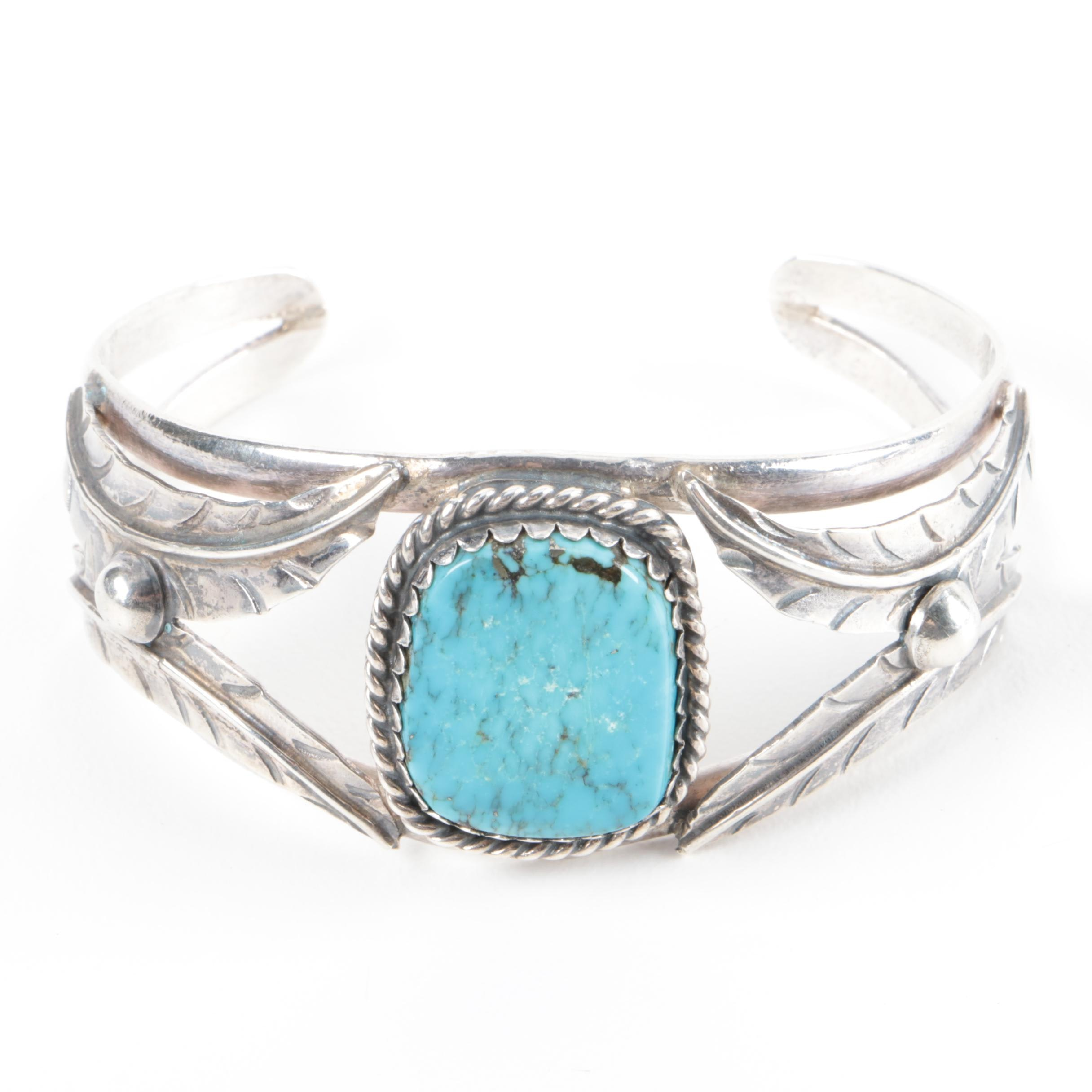 Mexican Southwest Style Sterling Silver and Turquoise  Split Cuff Bracelet