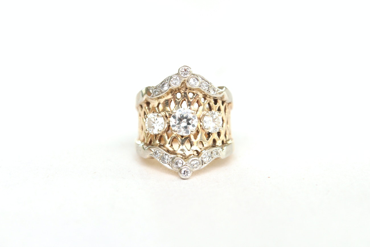 14K Yellow and White Gold 1.31 CTW Diamond Ring