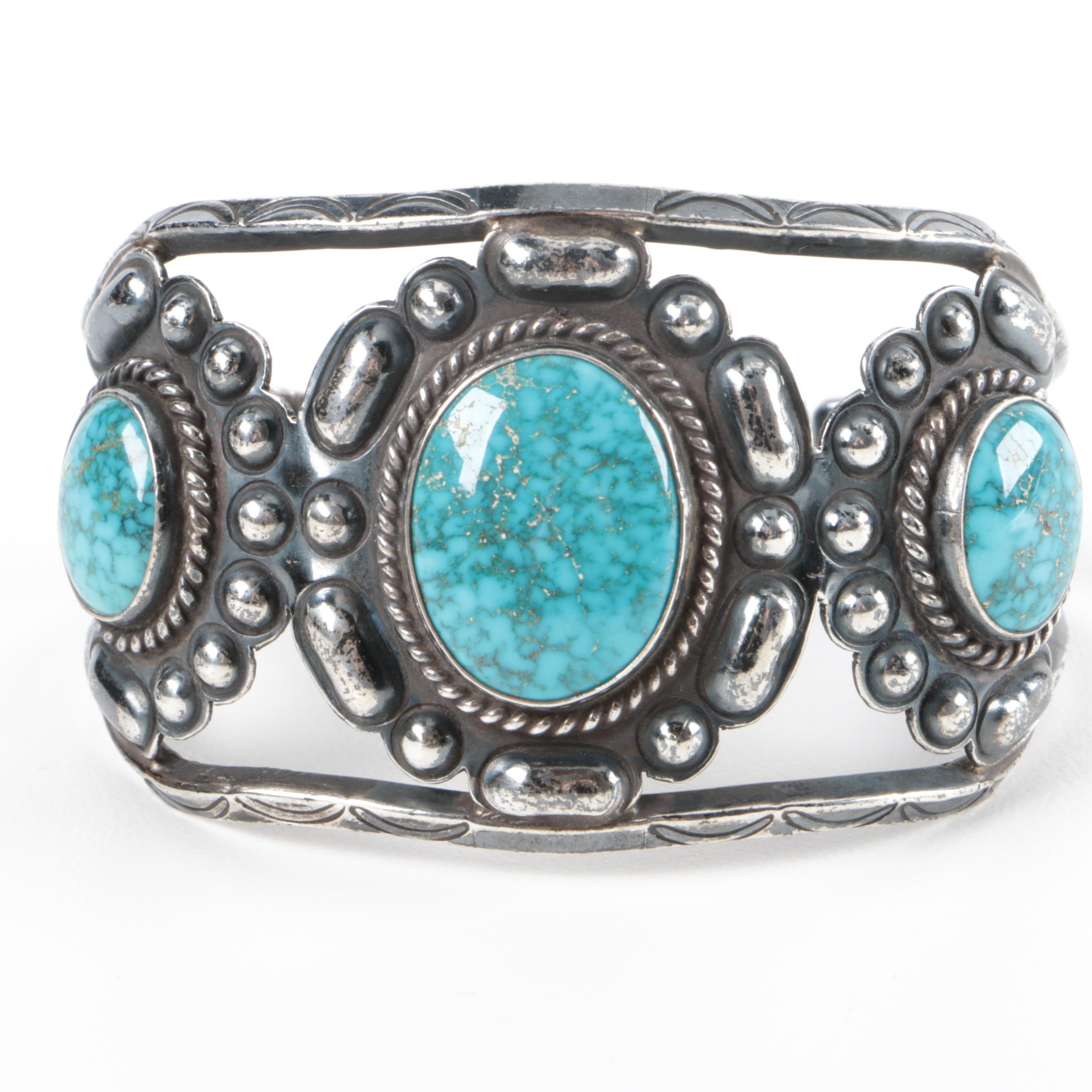 Signed Sterling Silver and Turquoise Old Pawn Cuff Bracelet