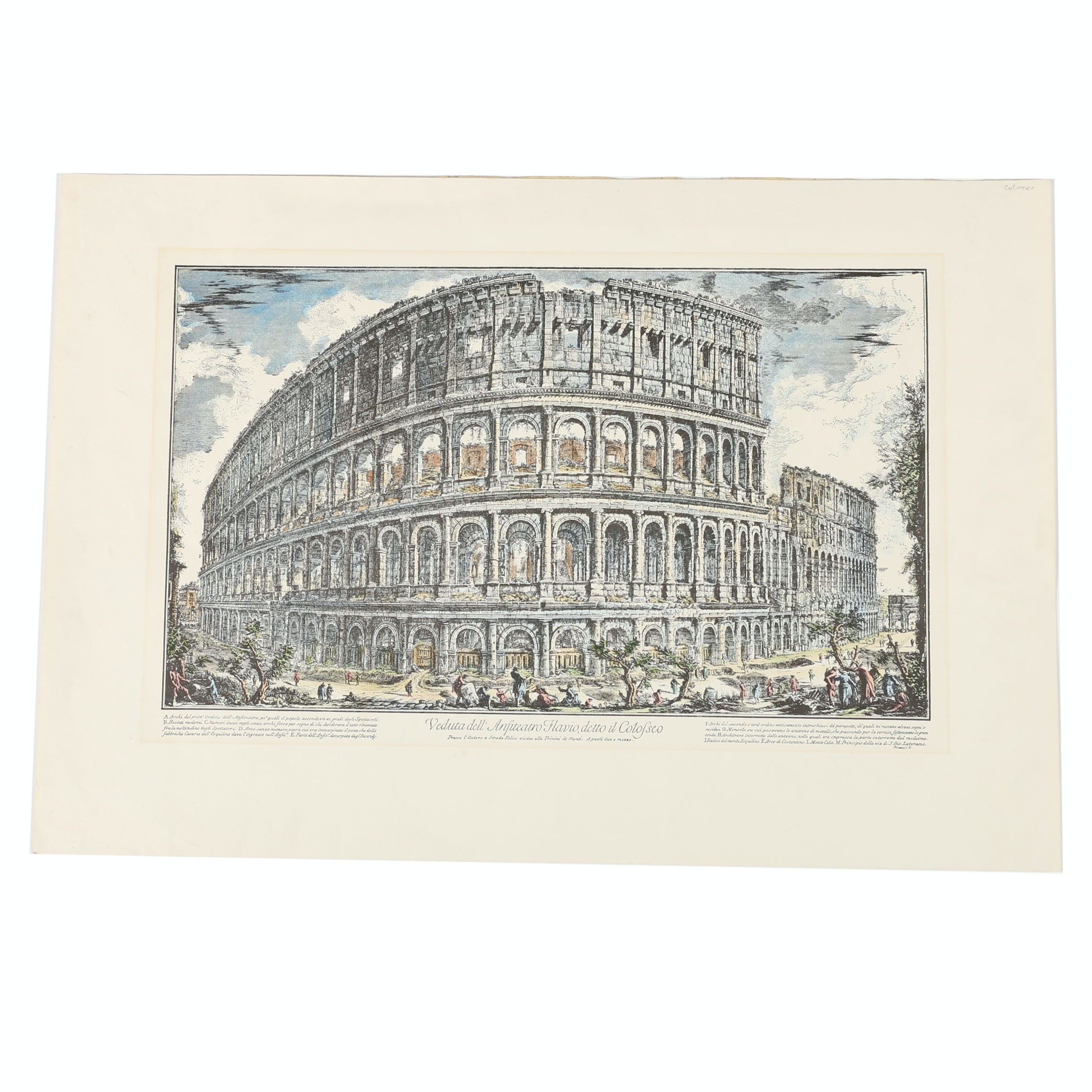 Hand-Colored Lithograph after a Giovanni Piranesi Etching of the Colosseum