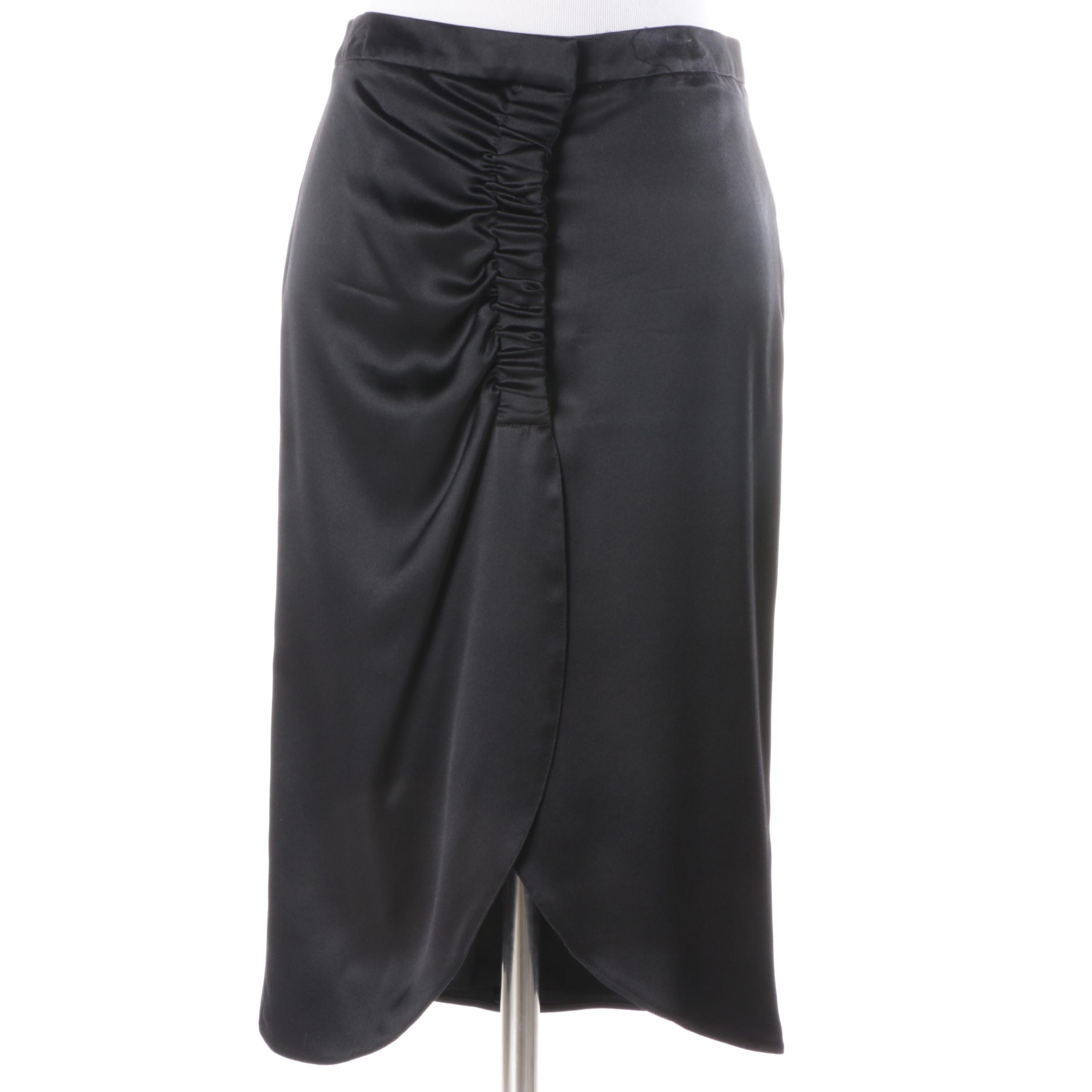 Giorgio Armani Black Silk Tulip Style Skirt