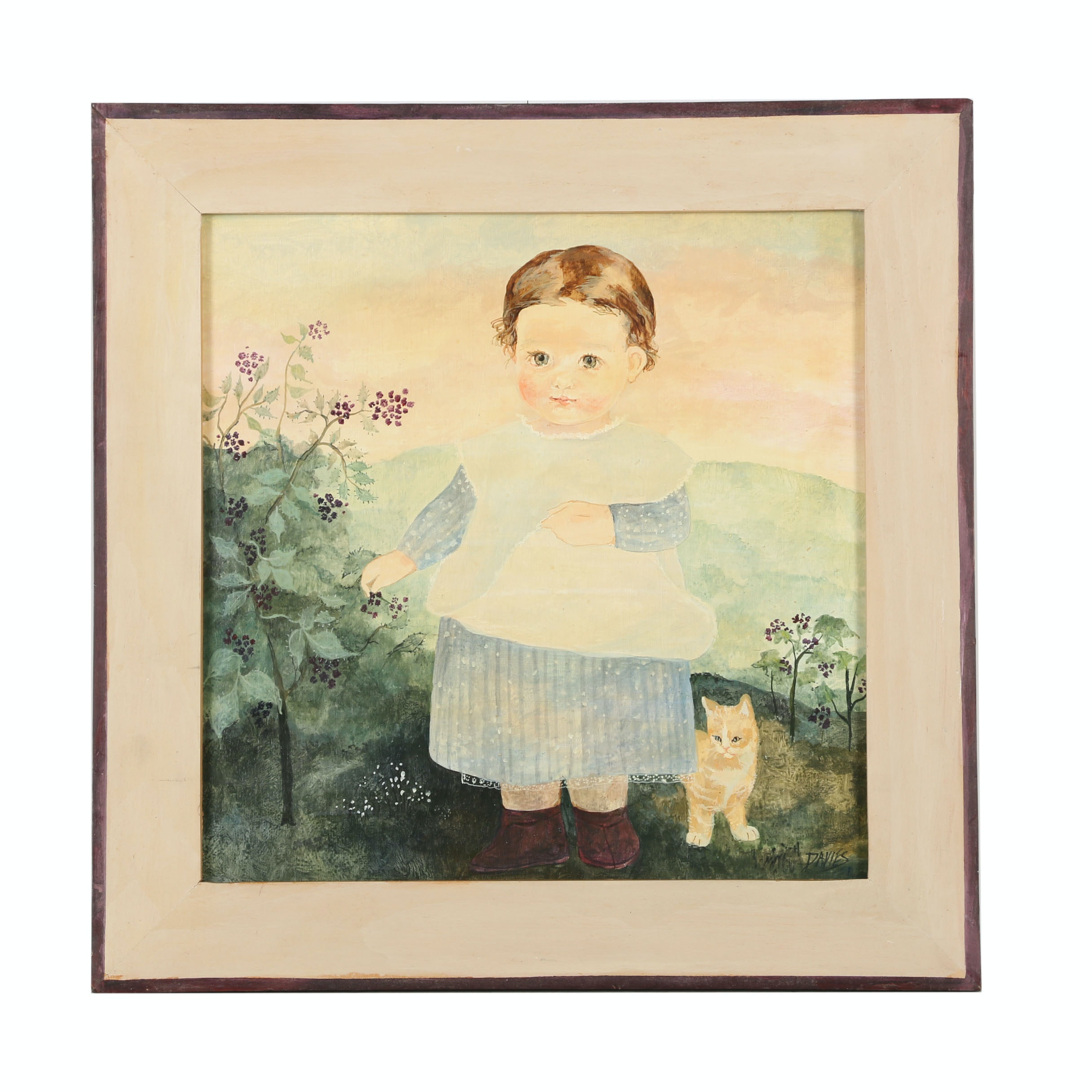 Davies Acrylic Painting on Board of a Baby and Kitten