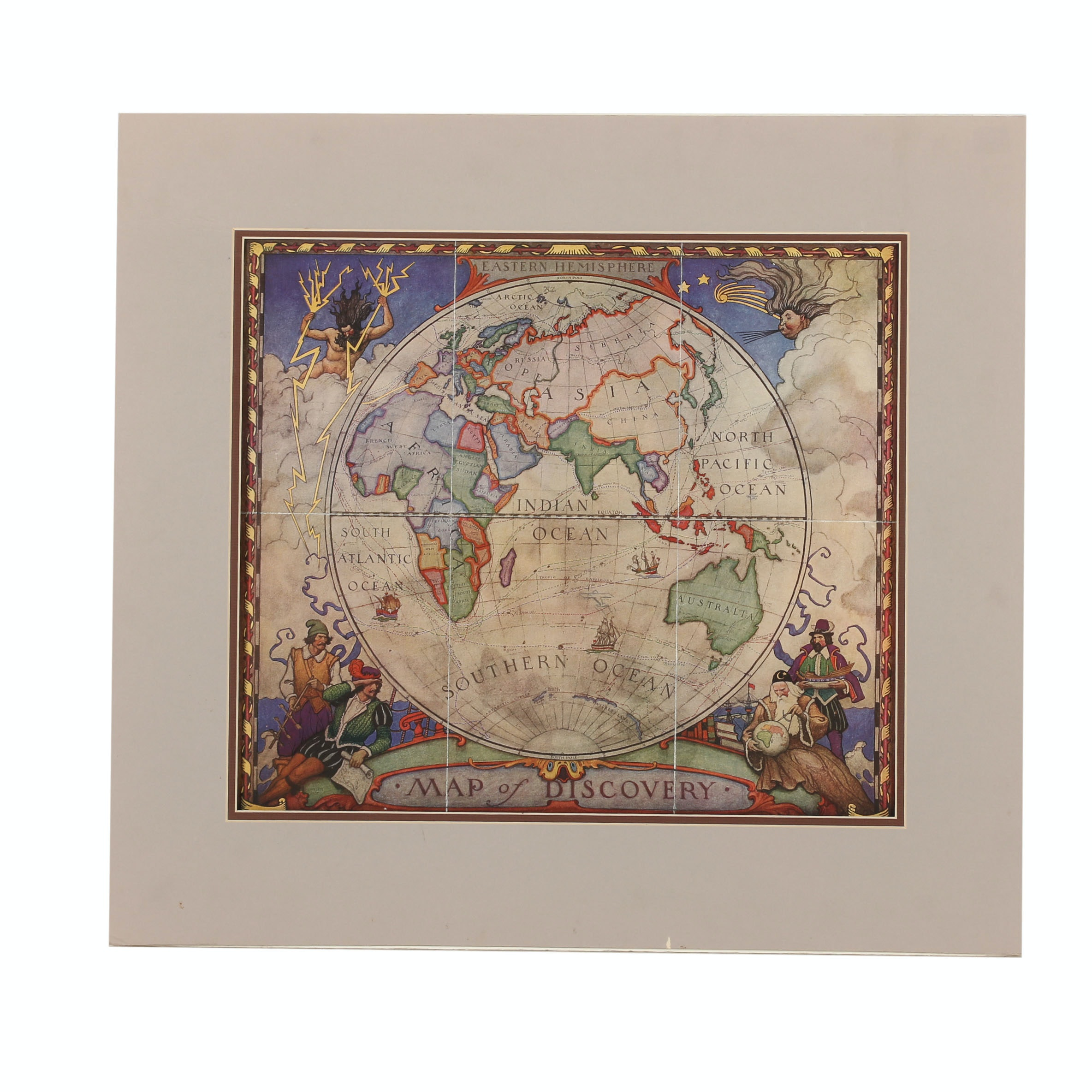 """Offset Lithograph on Paper After N.C. Wyeth """"Map of Discovery"""""""