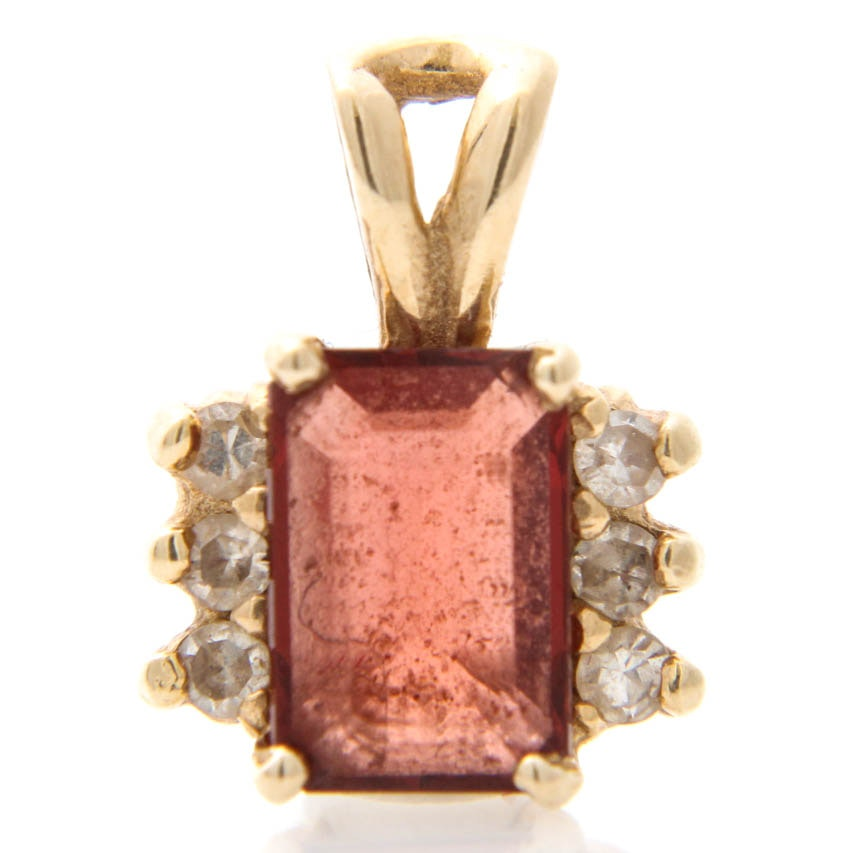 14K Yellow Gold Garnet and Diamond Pendant