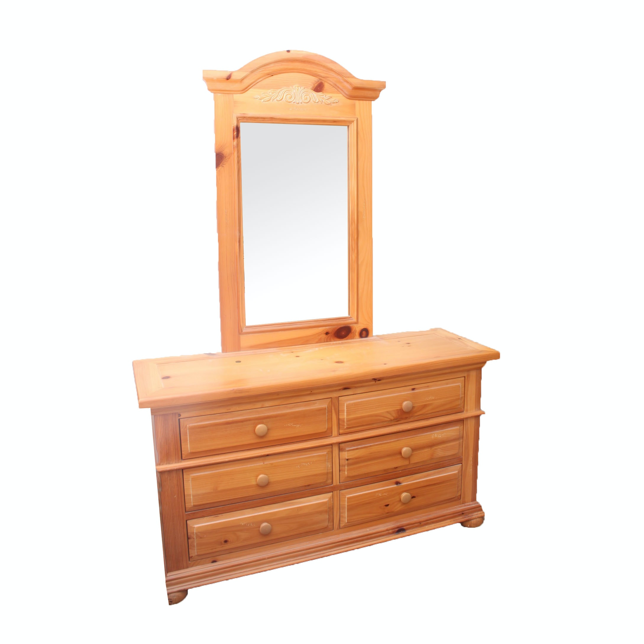 Pine Dresser with Mirror by Broyhill
