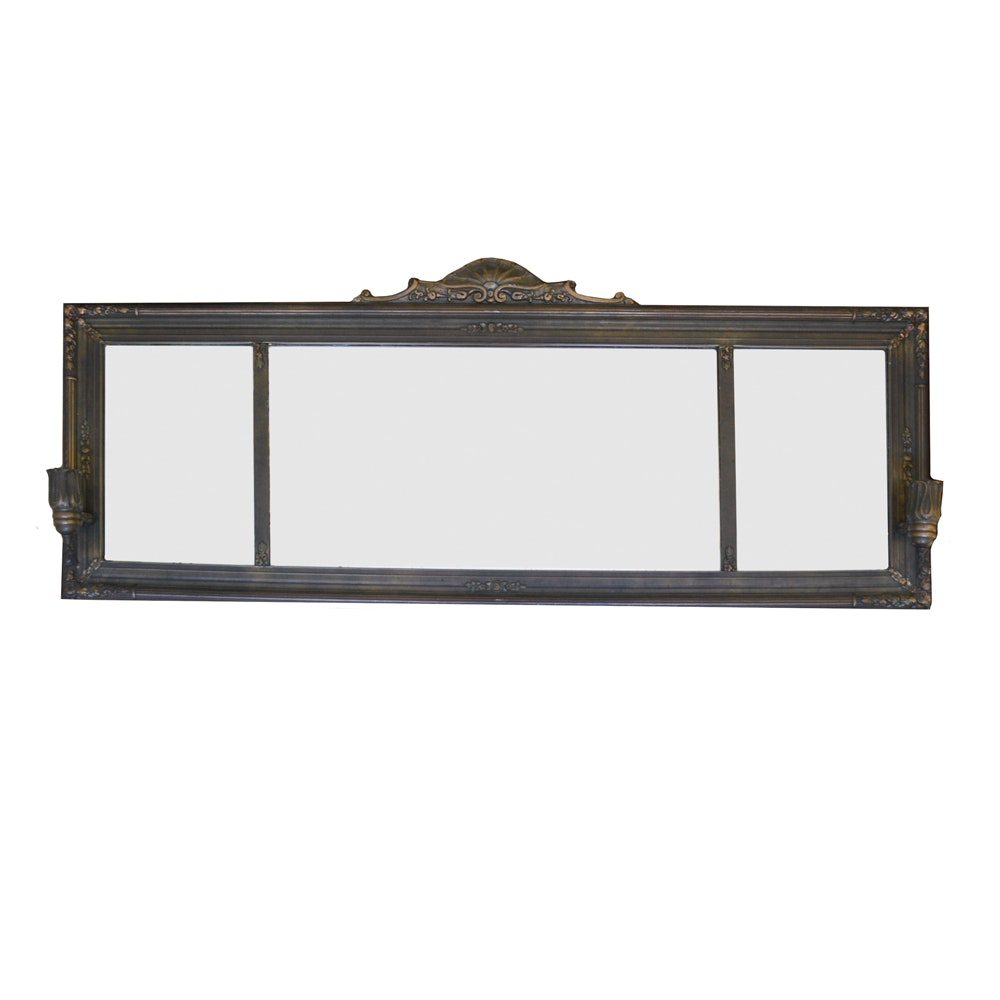 Large Vintage Wall Mirror with Candle Sconces