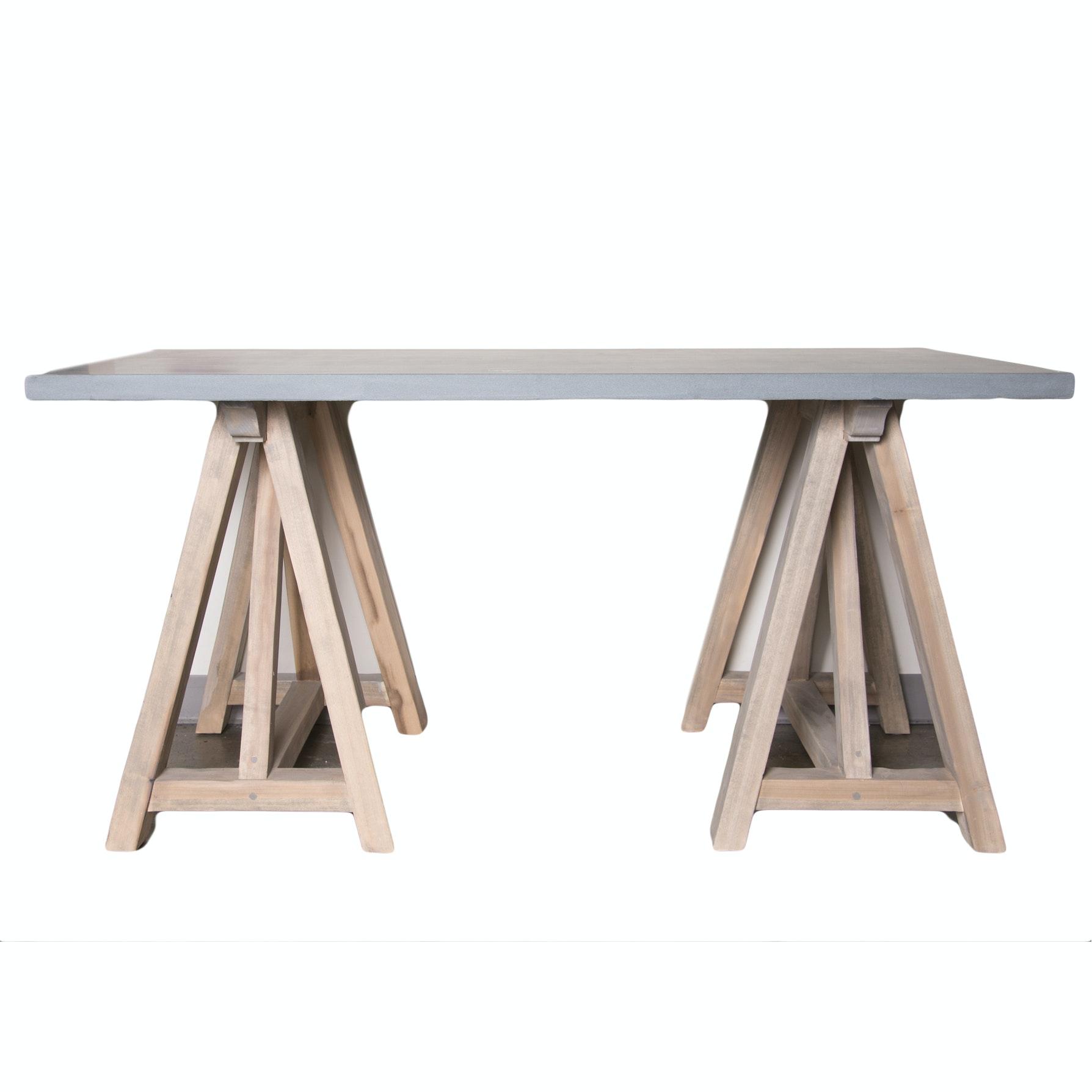 Concrete Top Trestle Base Desk ...