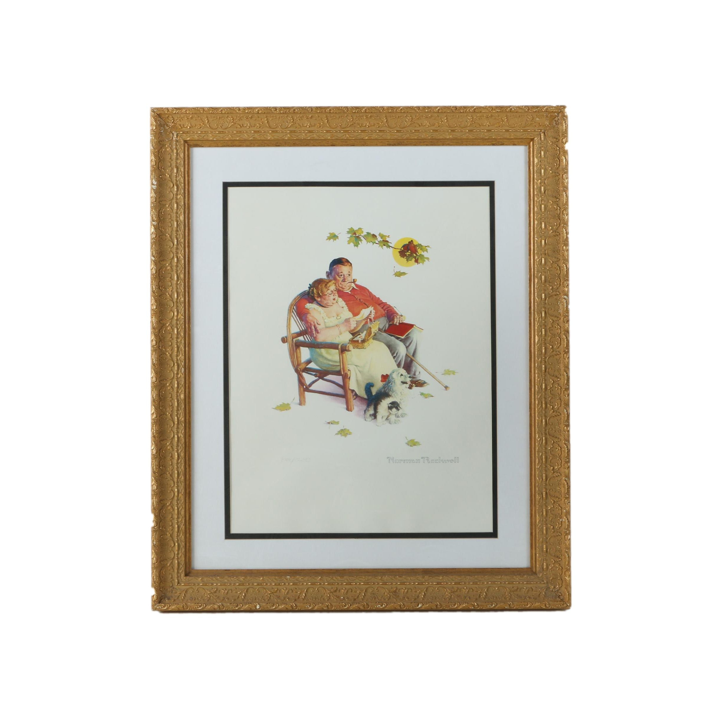 """Limited Edition Offset Lithograph After Norman Rockwell """"Fondly Do We Remember"""""""