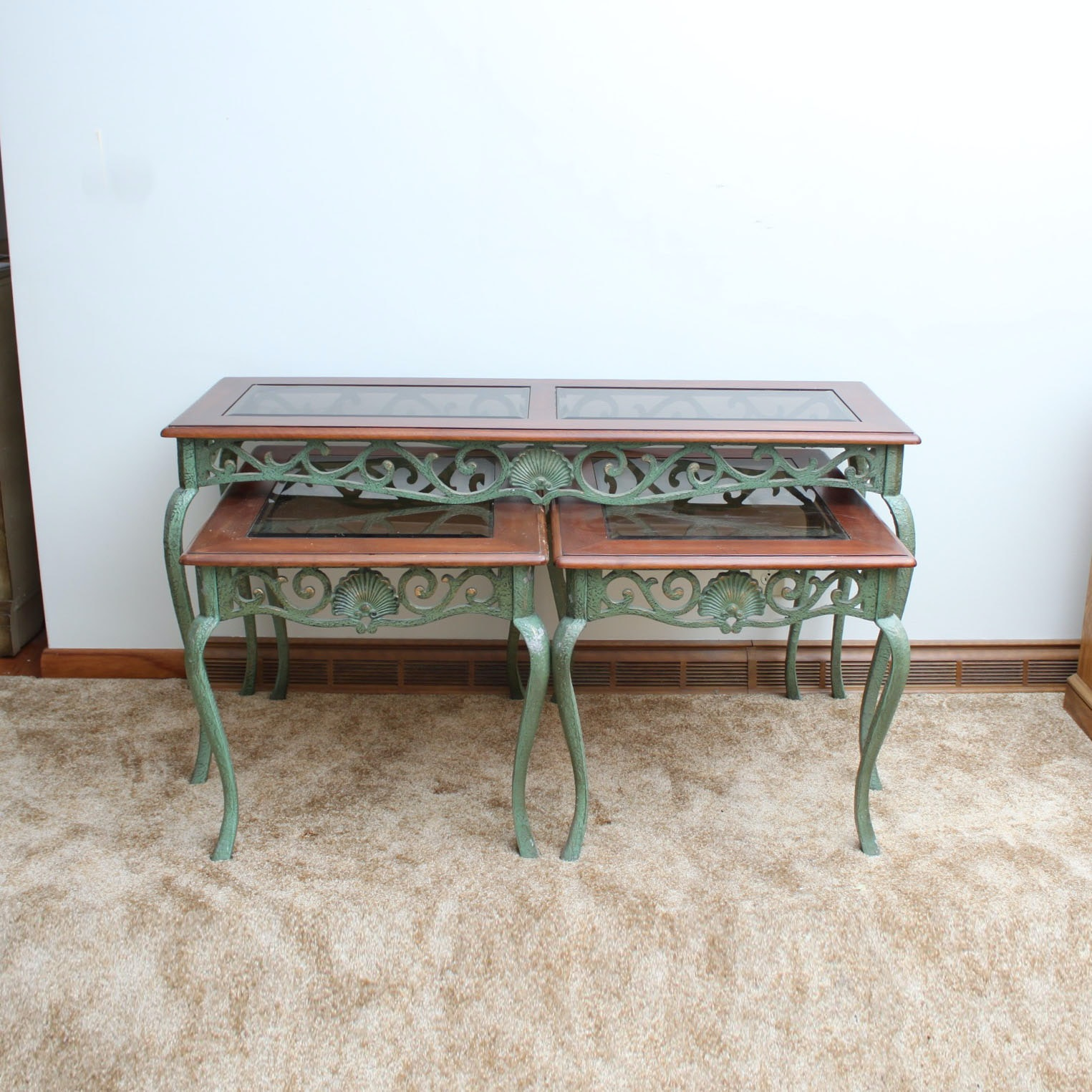 Vintage Queen Anne Style Console Table and Side Tables